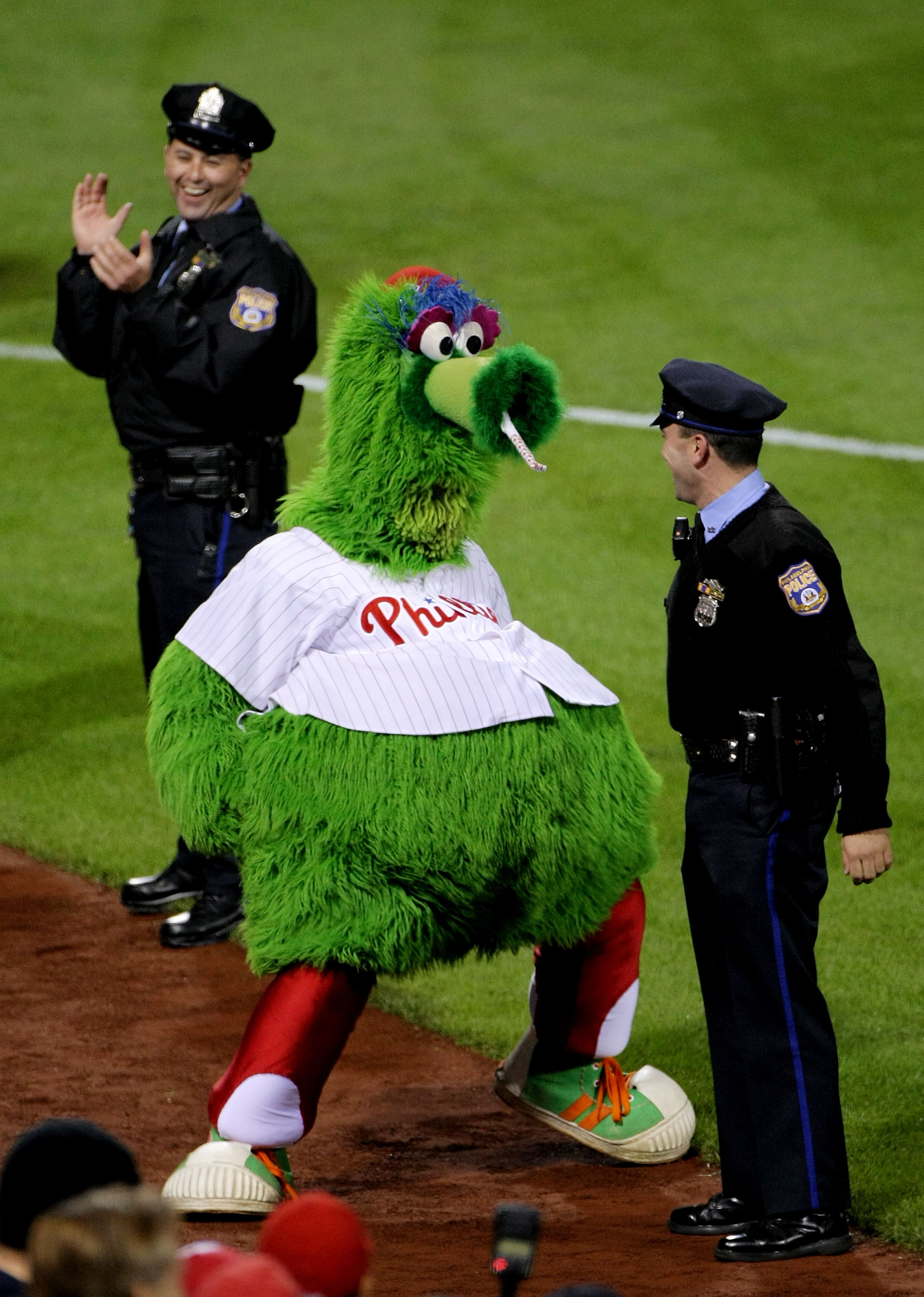 PHILADELPHIA - OCTOBER 26:  The Philly Phanatic performs during game four of the 2008 MLB World Series on October 26, 2008 at Citizens Bank Park in Philadelphia, Pennsylvania.  (Photo by Doug Pensinger/Getty Images)