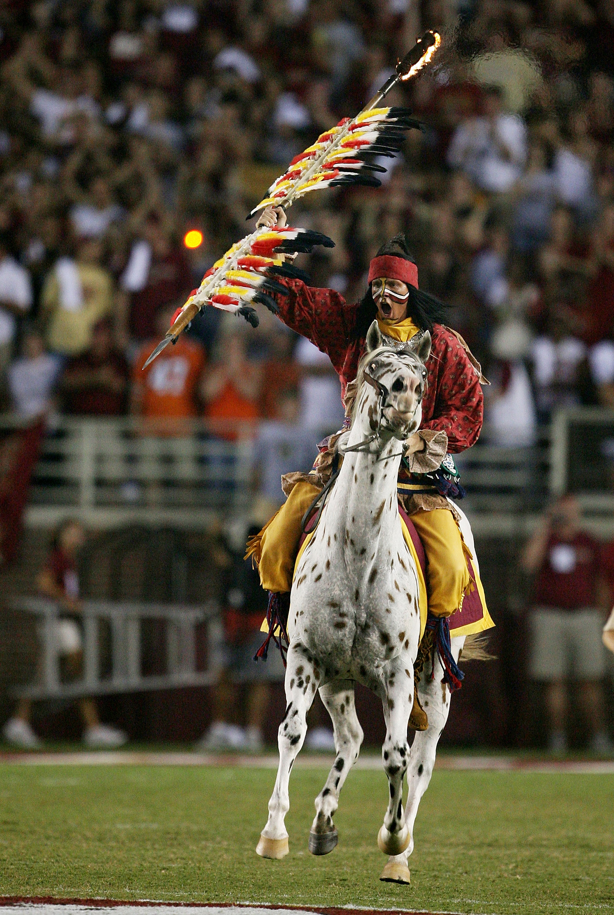 TALLAHASSEE, FL - SEPTEMBER 07:  Renegade and Chief Osceola prepares to bury his spear on the 50-yard line before the Miami Hurricanes take on the Florida State Seminoles at Doak Campbell Stadium on September 7, 2009 in Tallahassee, Florida. Miami defeate