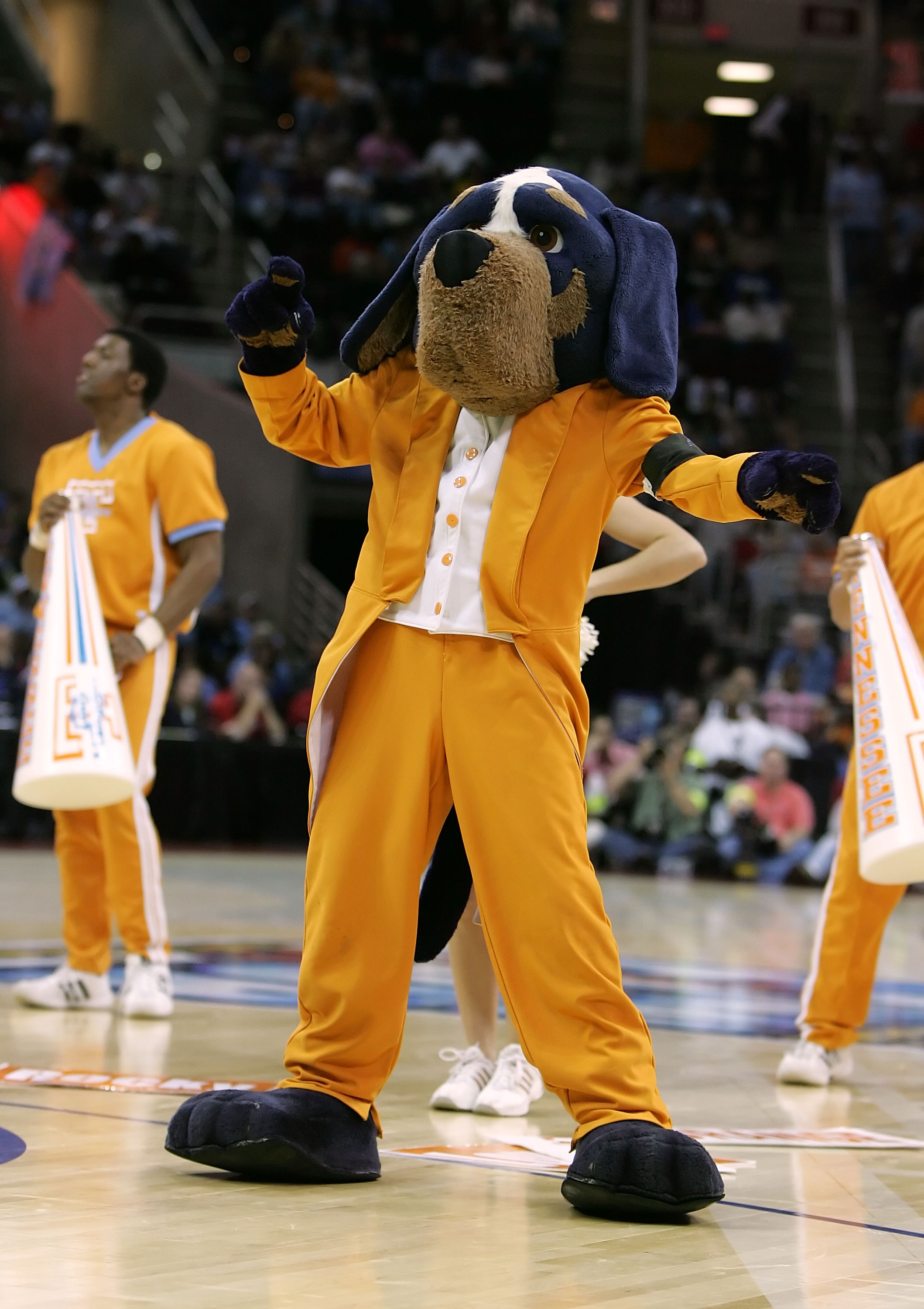 CLEVELAND - APRIL 01:  Smokey, the mascot of the Tennessee Lady Volunteers, performs against the North Carolina Tar Heels during their National Semifinal game of the 2007 NCAA Women's Final Four at the Quicken Loans Arena on April 1, 2007 in Cleveland, Oh