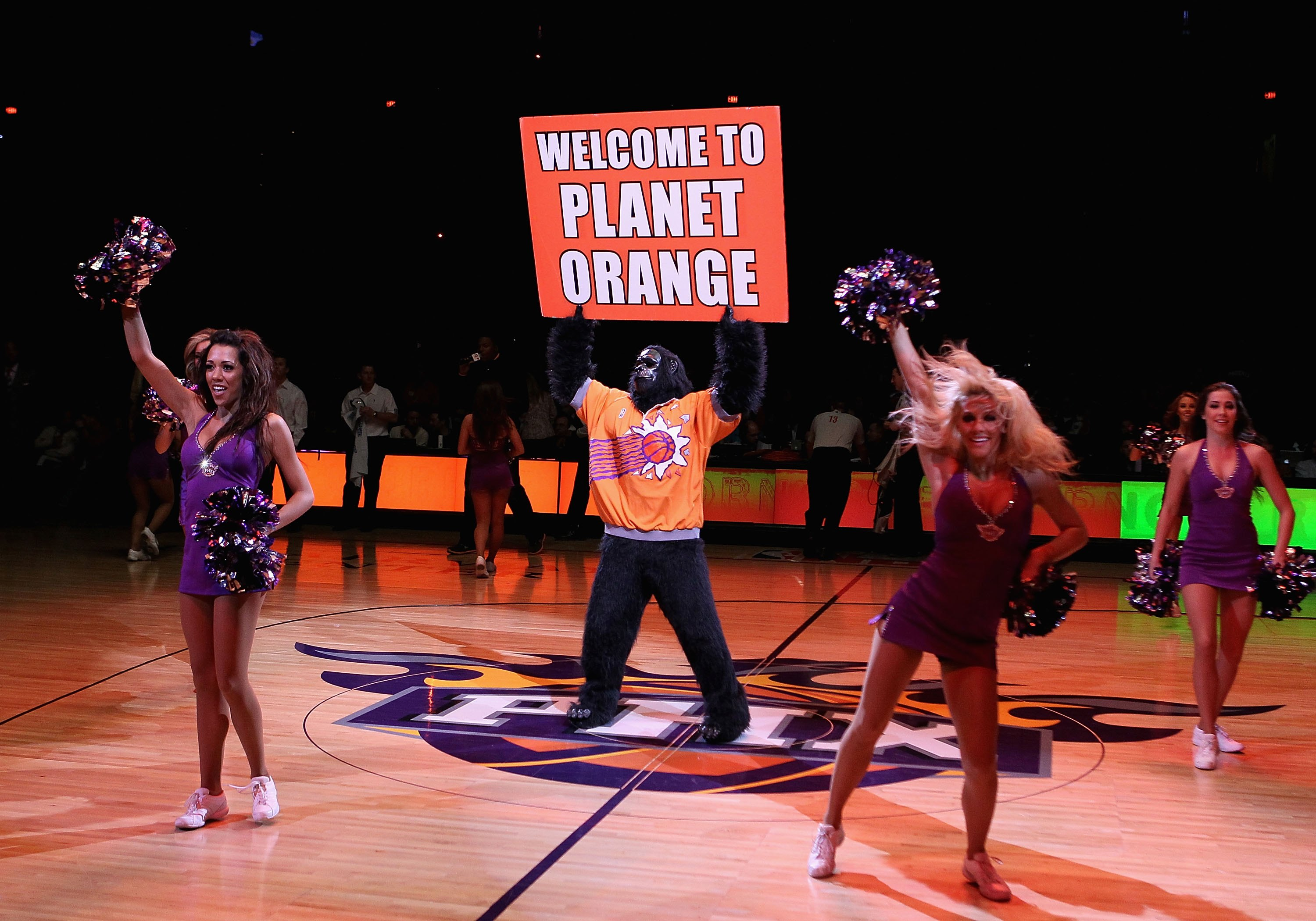PHOENIX - JANUARY 23:  The Phoenix Suns mascot 'gorilla' performs before the NBA game against the Golden State Warriors at US Airways Center on January 23, 2010 in Phoenix, Arizona. NOTE TO USER: User expressly acknowledges and agrees that, by downloading