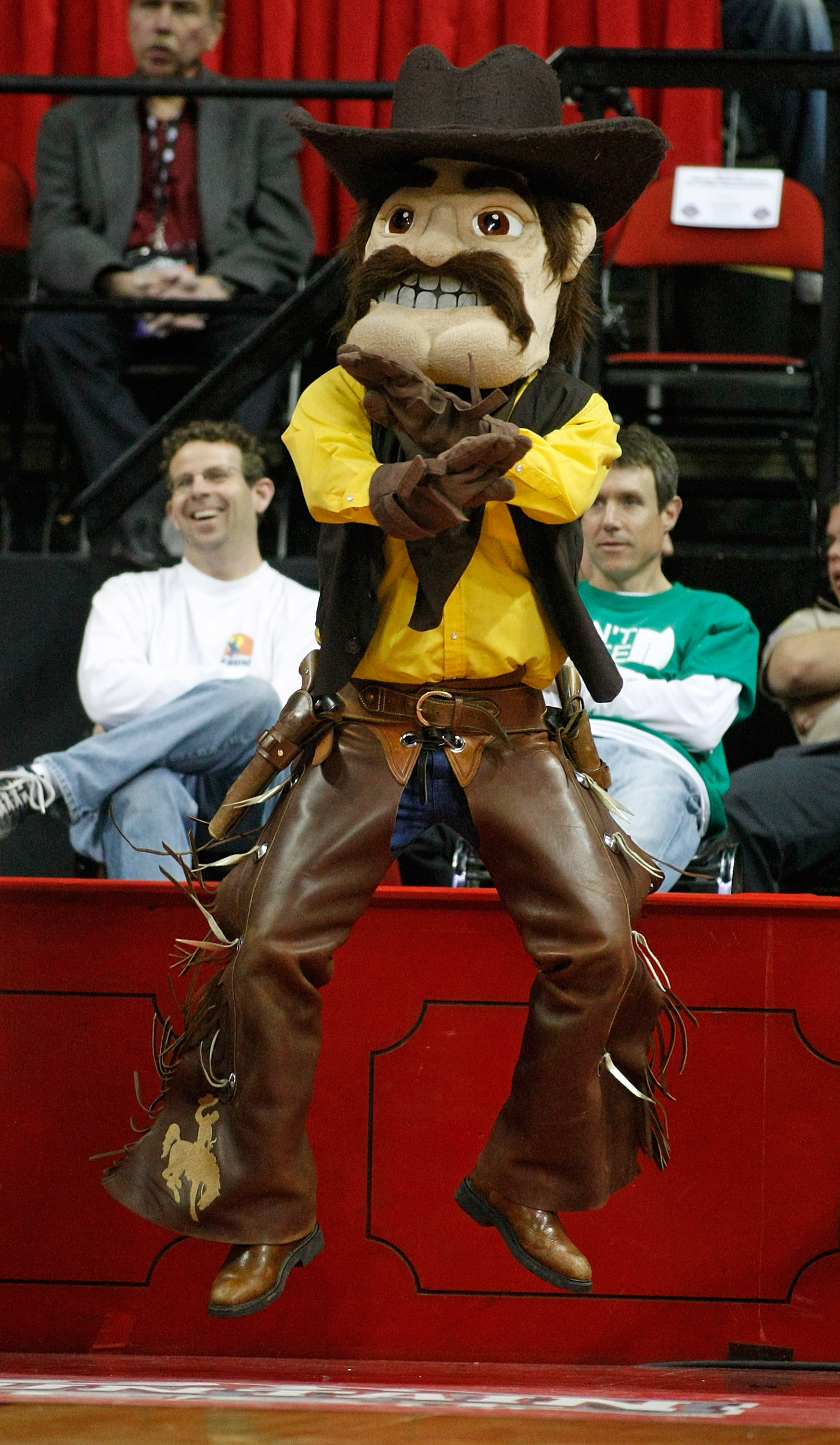 LAS VEGAS - MARCH 13:  Wyoming Cowboys mascot 'Pistol Pete' jumps in the air during a semifinal game against the Utah Utes during a semifinal game of the Conoco Mountain West Conference Basketball Championships at the Thomas & Mack Center March 13, 2009 i