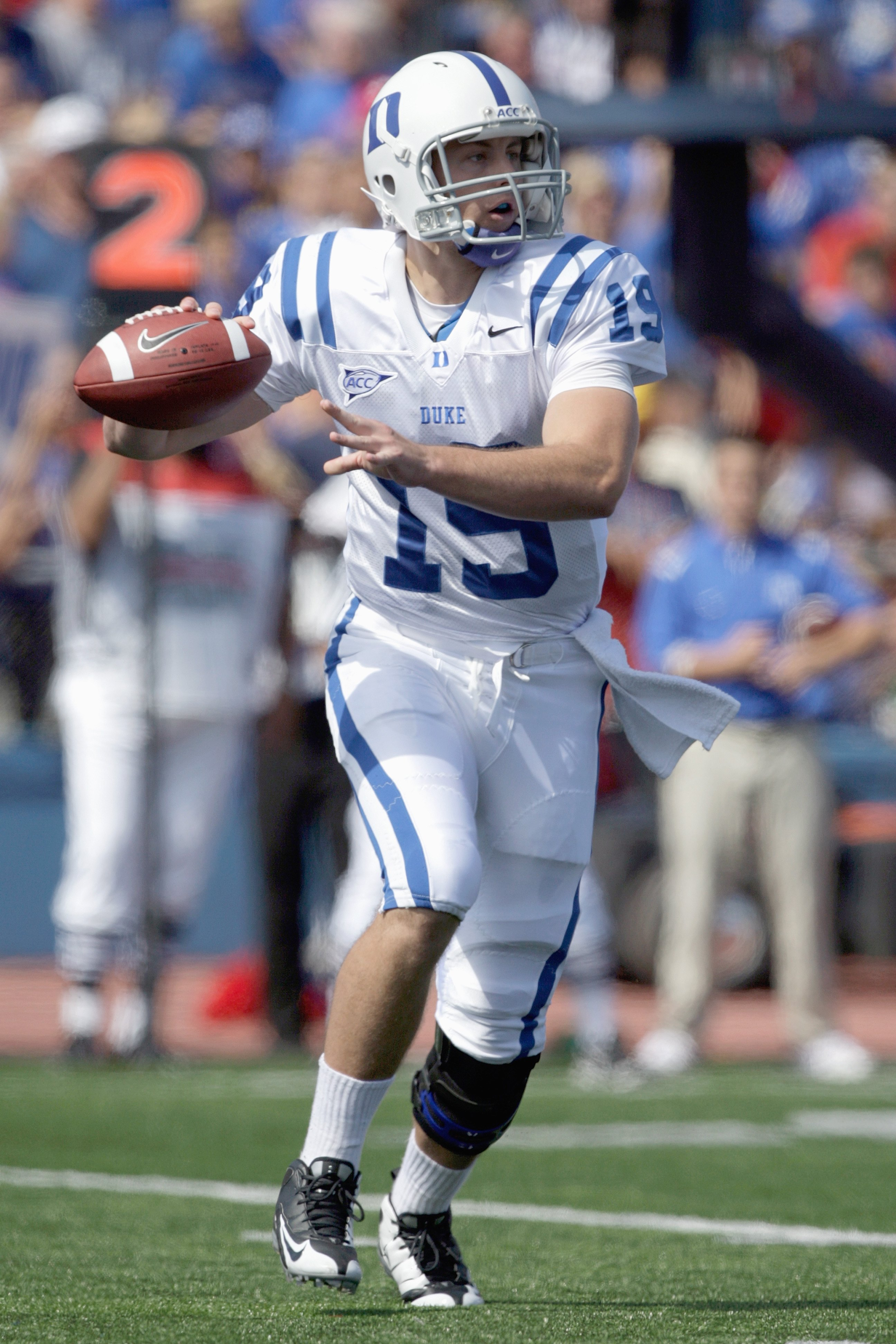 LAWRENCE, KS - SEPTEMBER 19:  Quarterback Sean Renfree #19 of the Duke Blue Devils looks to pass the ball during the game against the Kansas Jayhawks at Kivisto Field at Memorial Stadium on September 19, 2009 in Lawrence, Kansas. (Photo by Jamie Squire/Ge