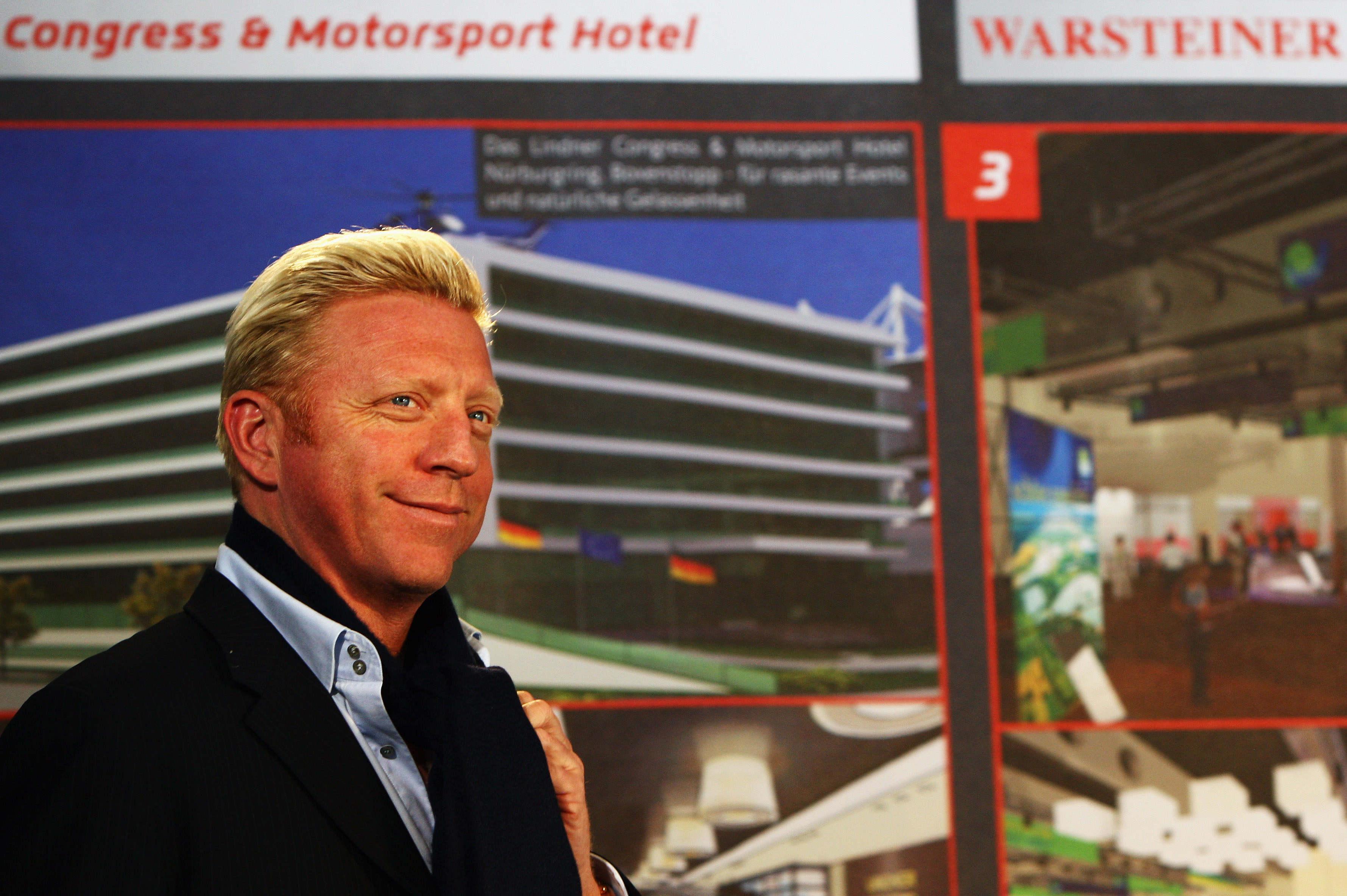 NUERBURG, GERMANY - MAY 28:  Former German tennis star Boris Becker is presented as new embassador of the Nuerburgring motorsport track during a press conference on May 28, 2009 at the Nuerburgring near Nuerburg, Germany.  (Photo by Vladimir Rys/Getty Ima