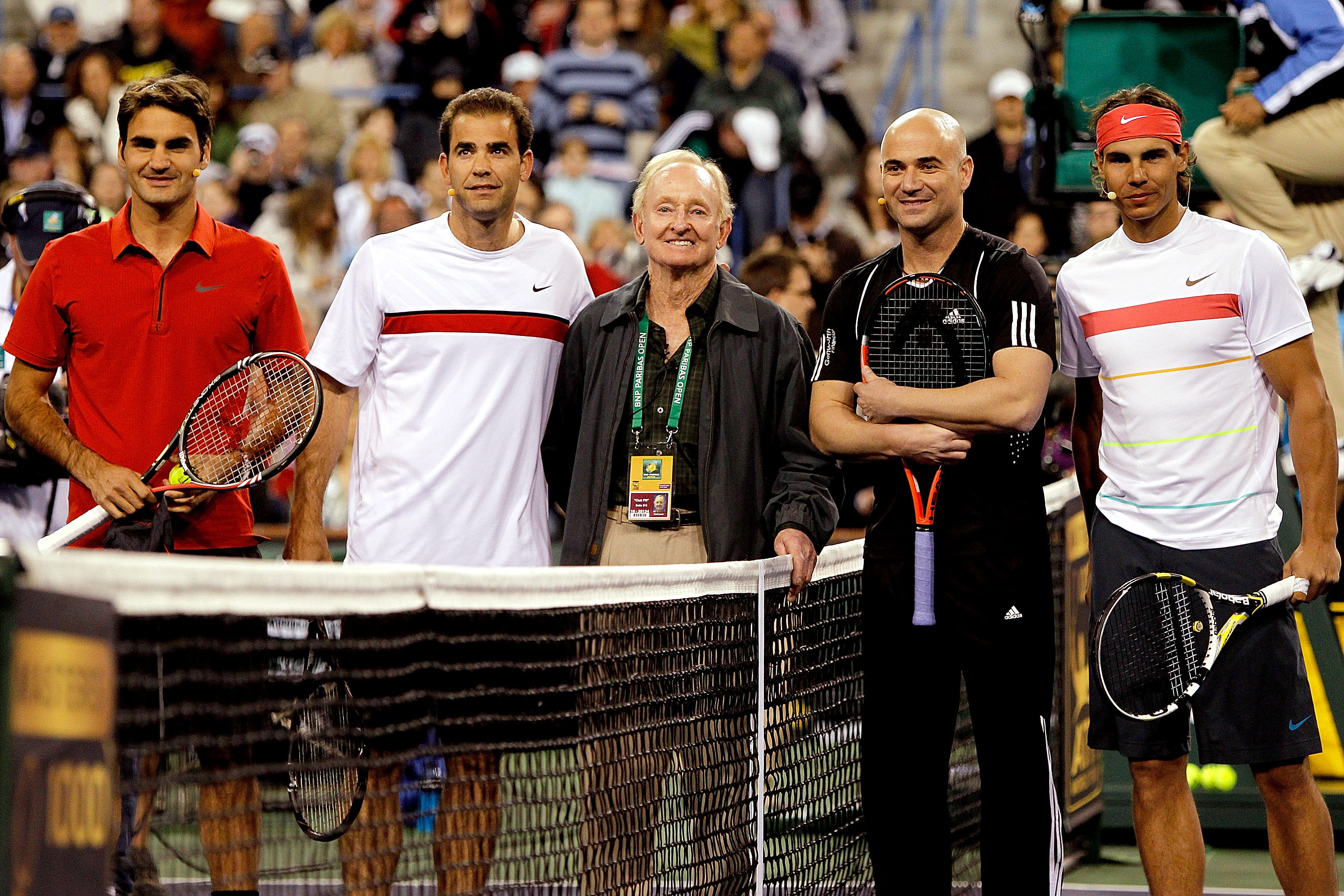 Laver (centre) with the other greats.
