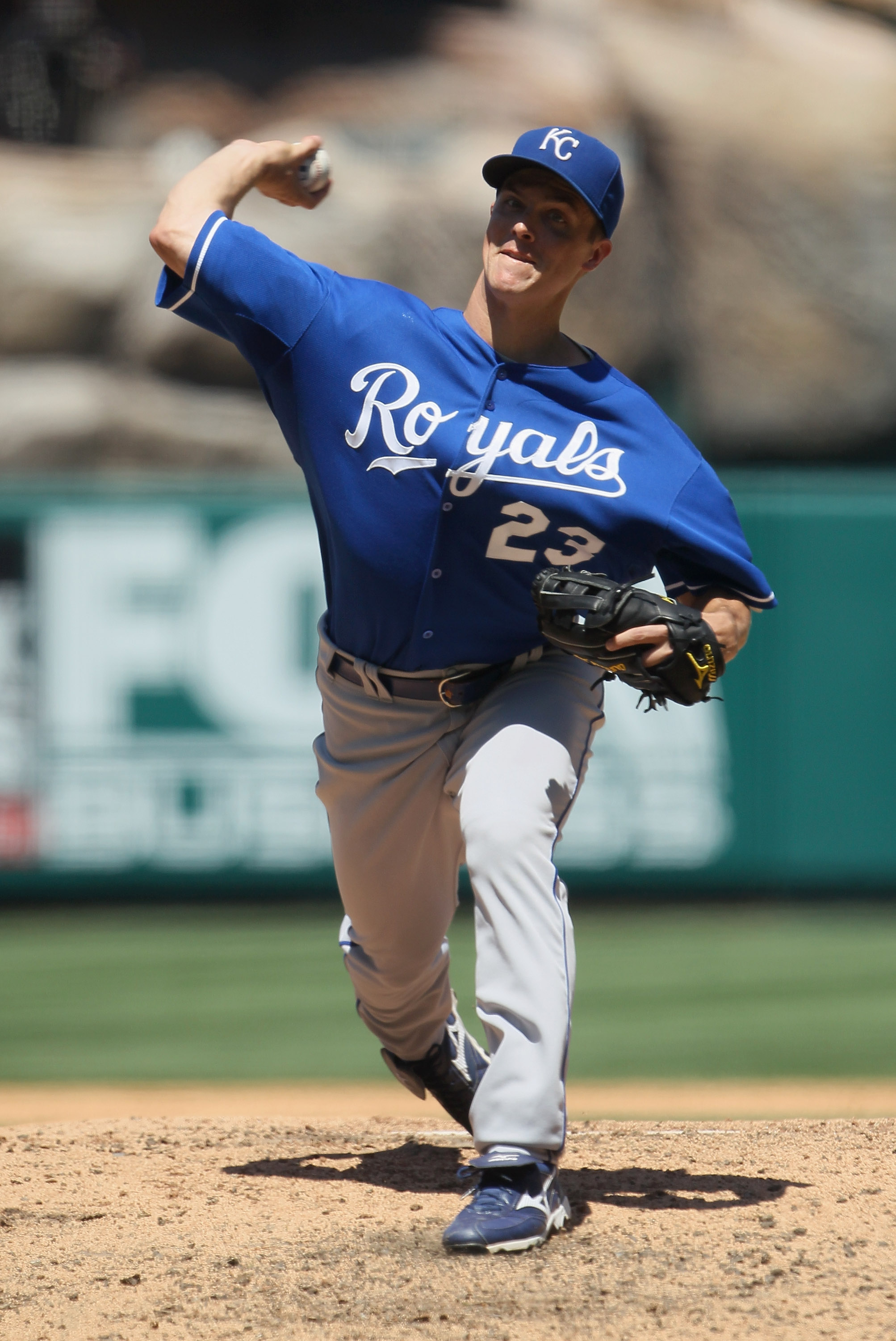 ANAHEIM, CA - AUGUST 11:  Zack Greinke #23 of the Kansas City Royals pitches against the Los Angeles Angels of Anaheim in the sixth inning at Angel Stadium on August 11, 2010 in Anaheim, California. The Angels defeated the Royals 2-1 in ten innings.  (Pho