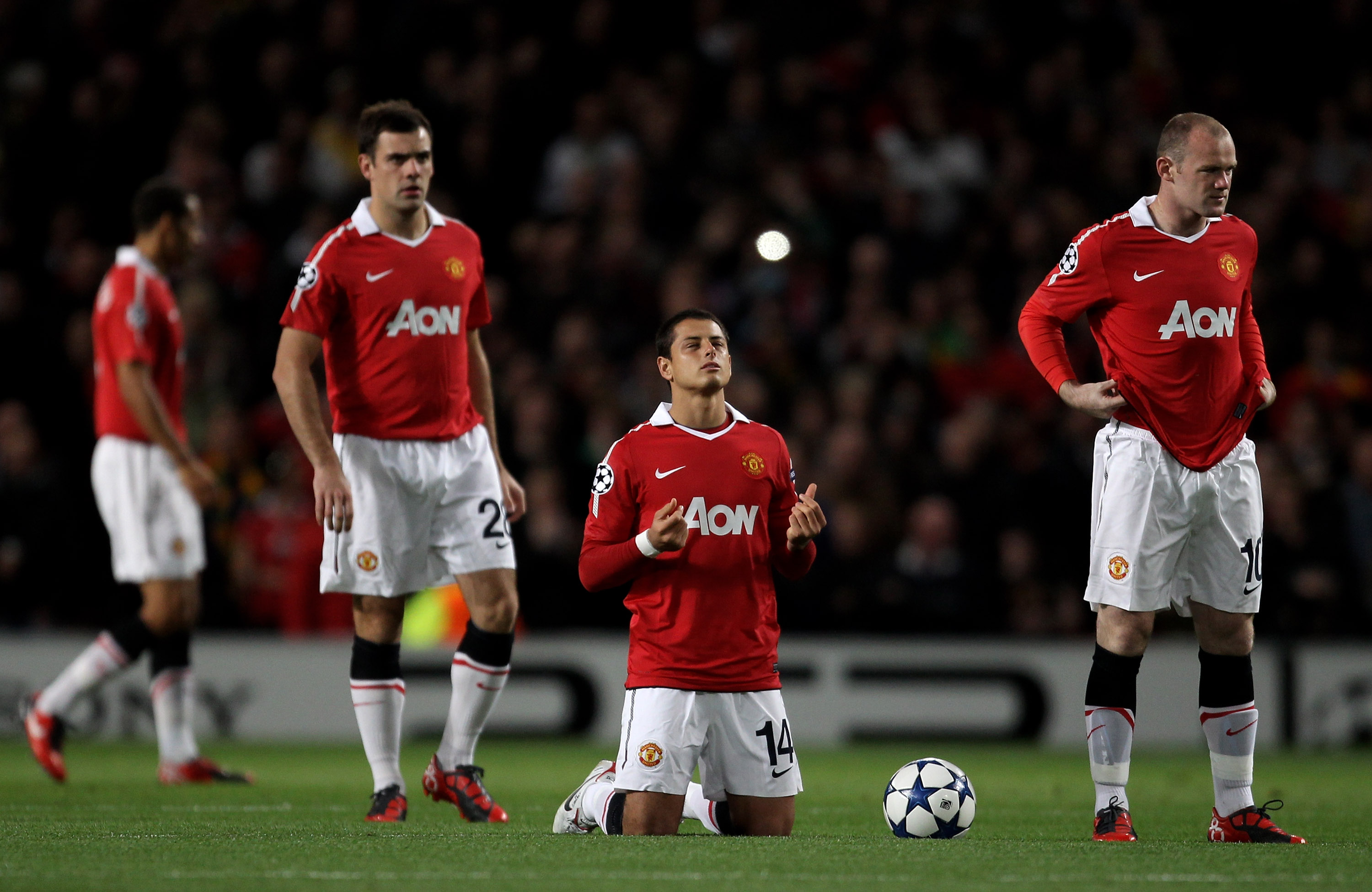 MANCHESTER, ENGLAND - SEPTEMBER 14:  Javier Hernandez of Manchester United says a prayer prior to the UEFA Champions League Group C match between Manchester United and Rangers at Old Trafford on September 14, 2010 in Manchester, England.  (Photo by Alex L