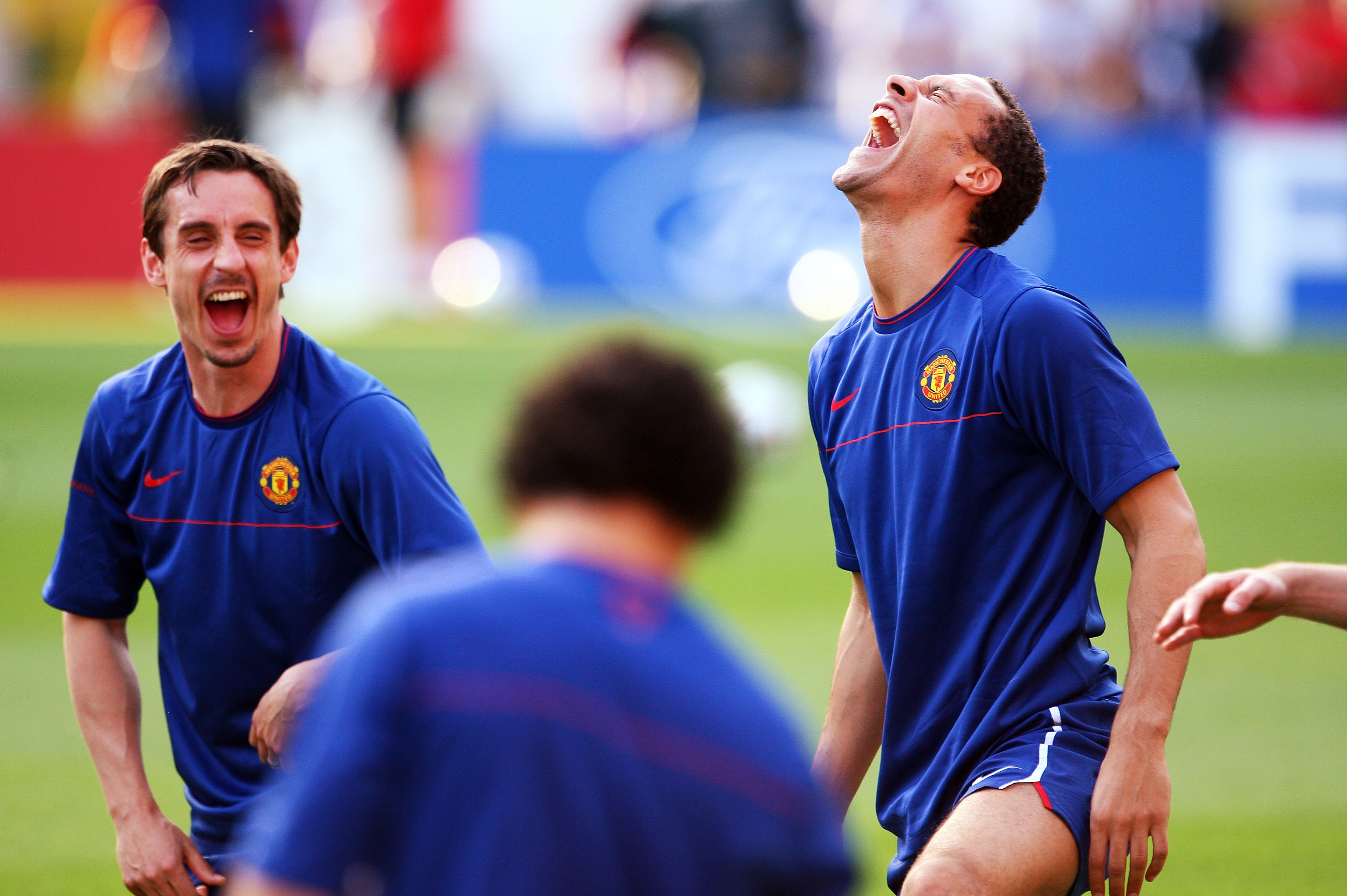 ROME - MAY 26:  Rio Ferdinand and Gary Neville of Manchester United laugh as they attend the Manchester United training session prior to UEFA Champions League Final versus Barcelona at the Stadio Olimpico on May 26, 2009 in Rome, Italy.  (Photo by Laurenc
