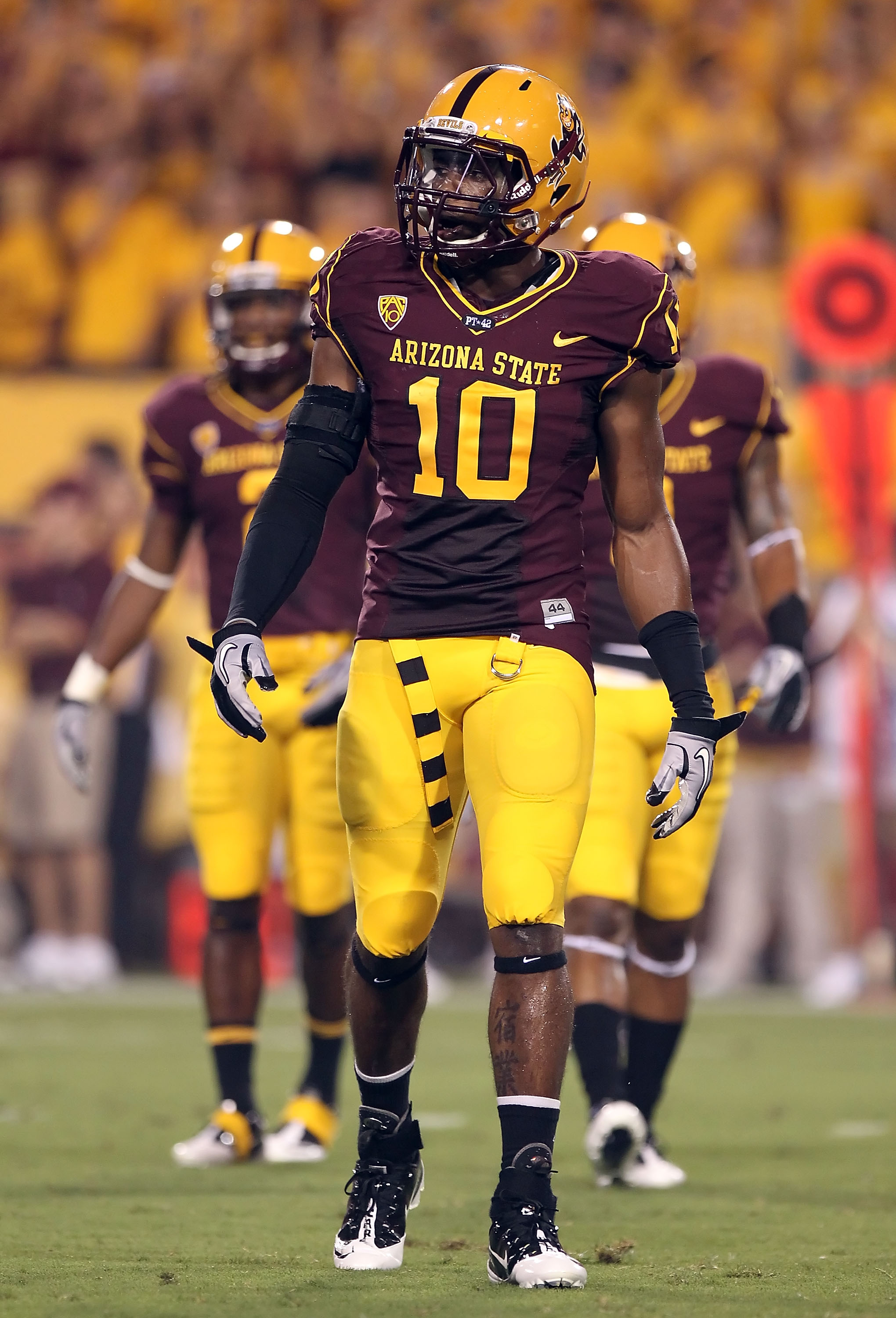 TEMPE, AZ - SEPTEMBER 04:  Safety Keelan Johnson #10 of the Arizona State Sun Devils during the college football game against the Portland State Vikings at Sun Devil Stadium on September 4, 2010 in Tempe, Arizona.  The Sun Devils defeated the Vikings 54-9