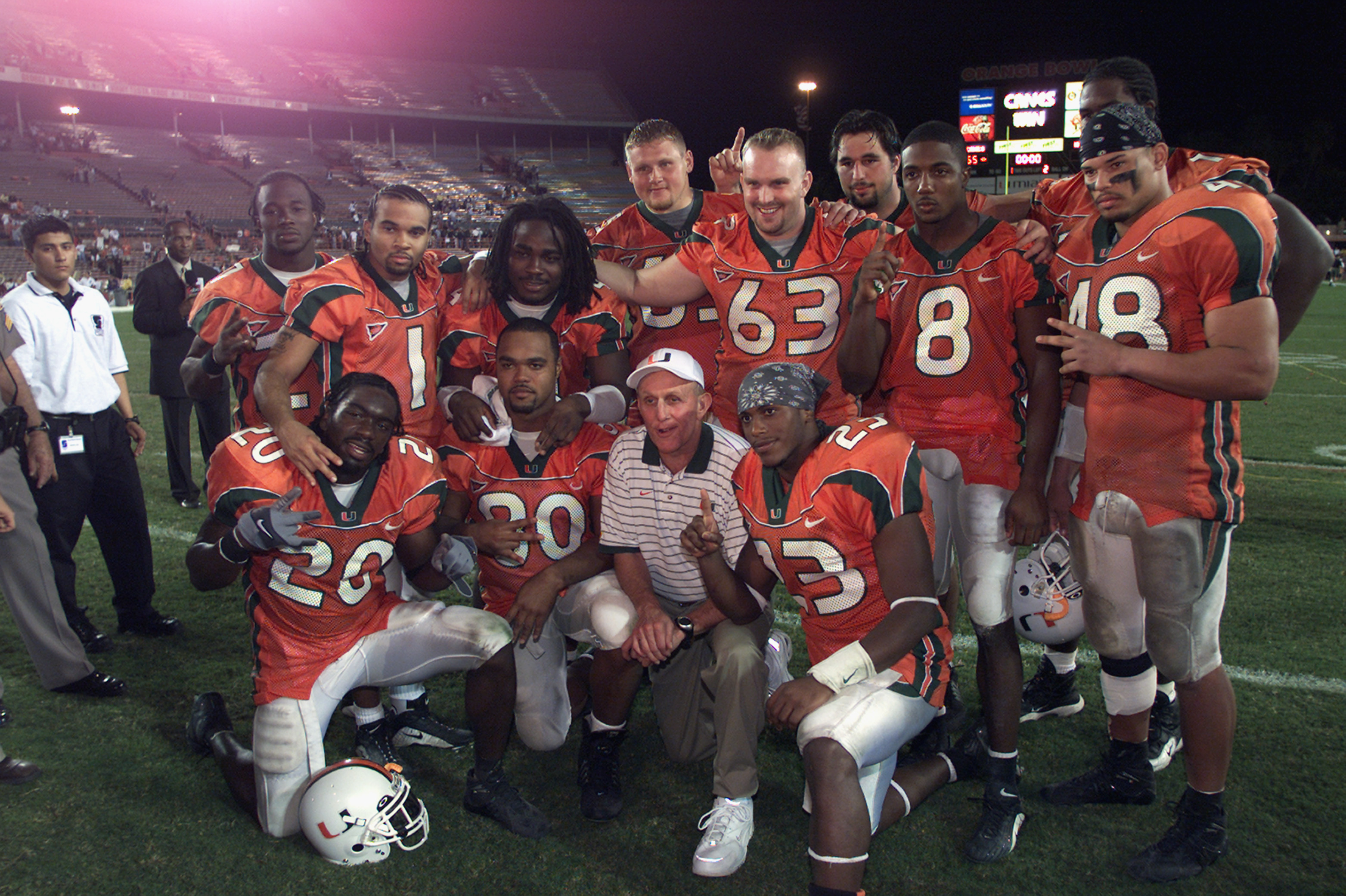 MIAMI - NOVEMBER 24:  Head Coach Larry Coker of the Miami Hurricanes is surrounded by his team as they pose for a photo after the game against the Washington Huskies at the Orange Bowl in Miami, Florida on November 24, 2001.  Miami crushed Washington 65-7