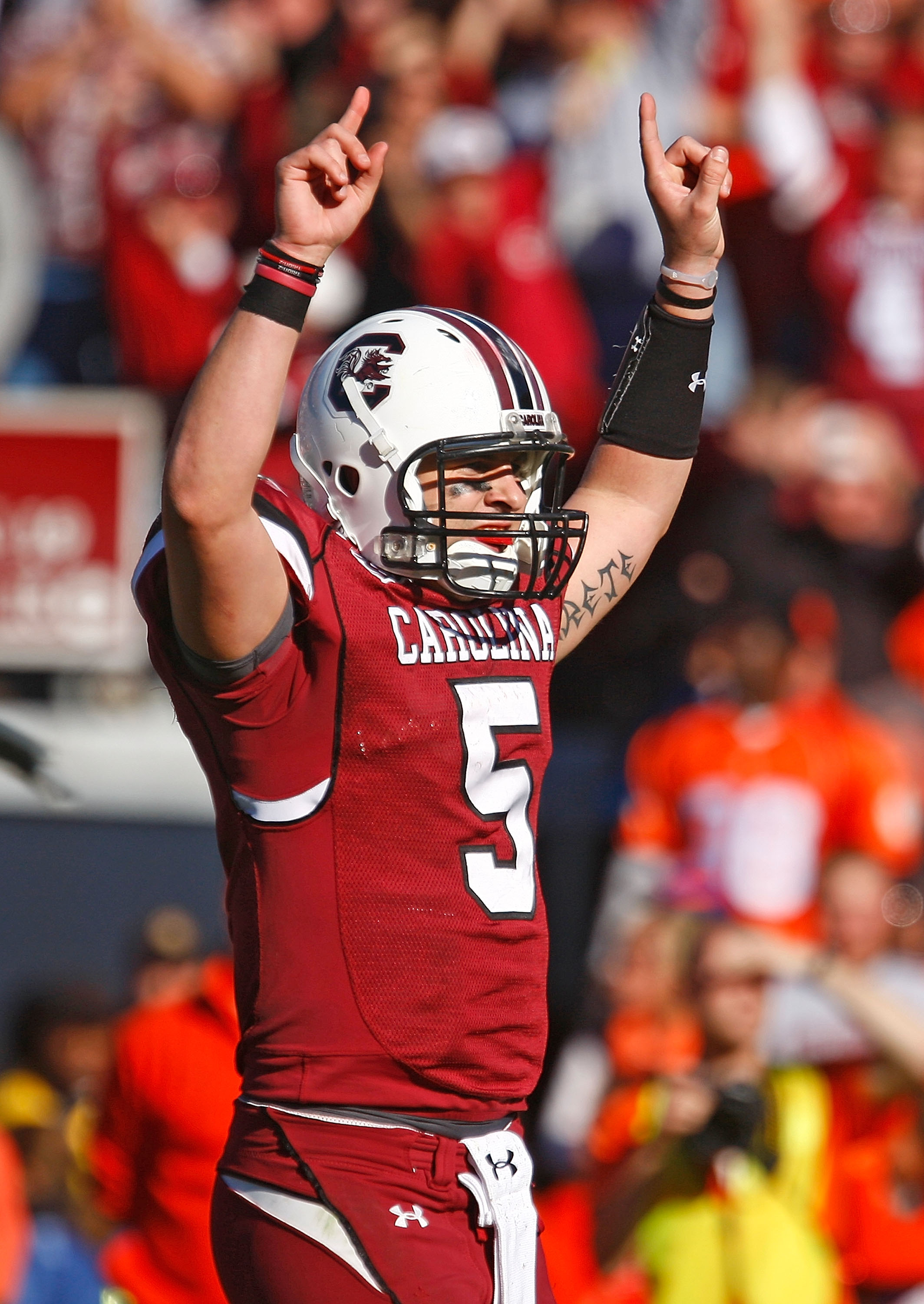 COLUMBIA, SC - NOVEMBER 28:  Stephen Garcia #5 of the South Carolina Gamecocks celebrates a second half touchdown against the Clemson Tigers at Williams-Brice Stadium on November 28, 2009 in Columbia, South Carolina.  (Photo by Scott Halleran/Getty Images