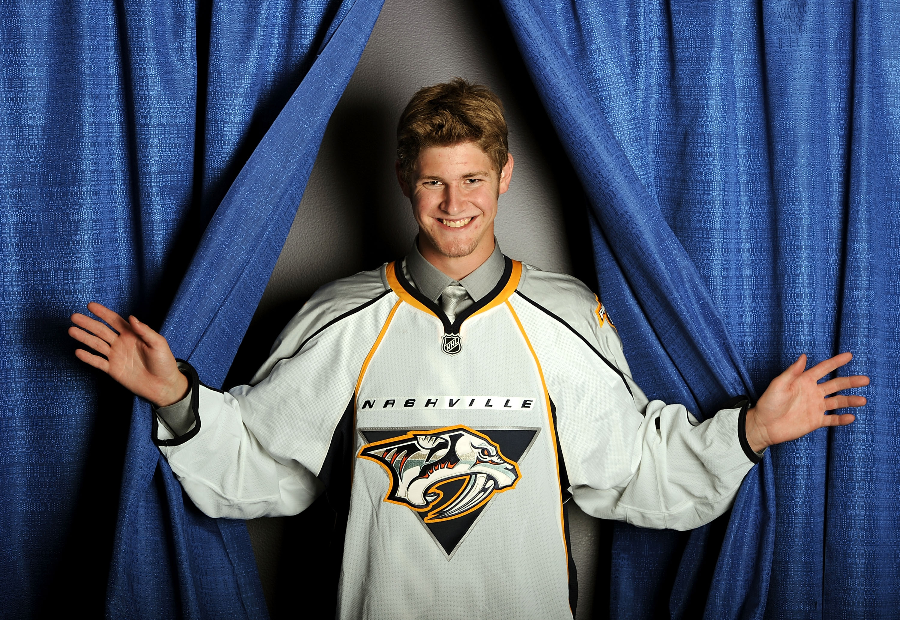 LOS ANGELES, CA - JUNE 25:  Austin Watson, drafted 18th by the Nashville Predators, poses for a portrait during the 2010 NHL Entry Draft at Staples Center on June 25, 2010 in Los Angeles, California.  (Photo by Harry How/Getty Images)