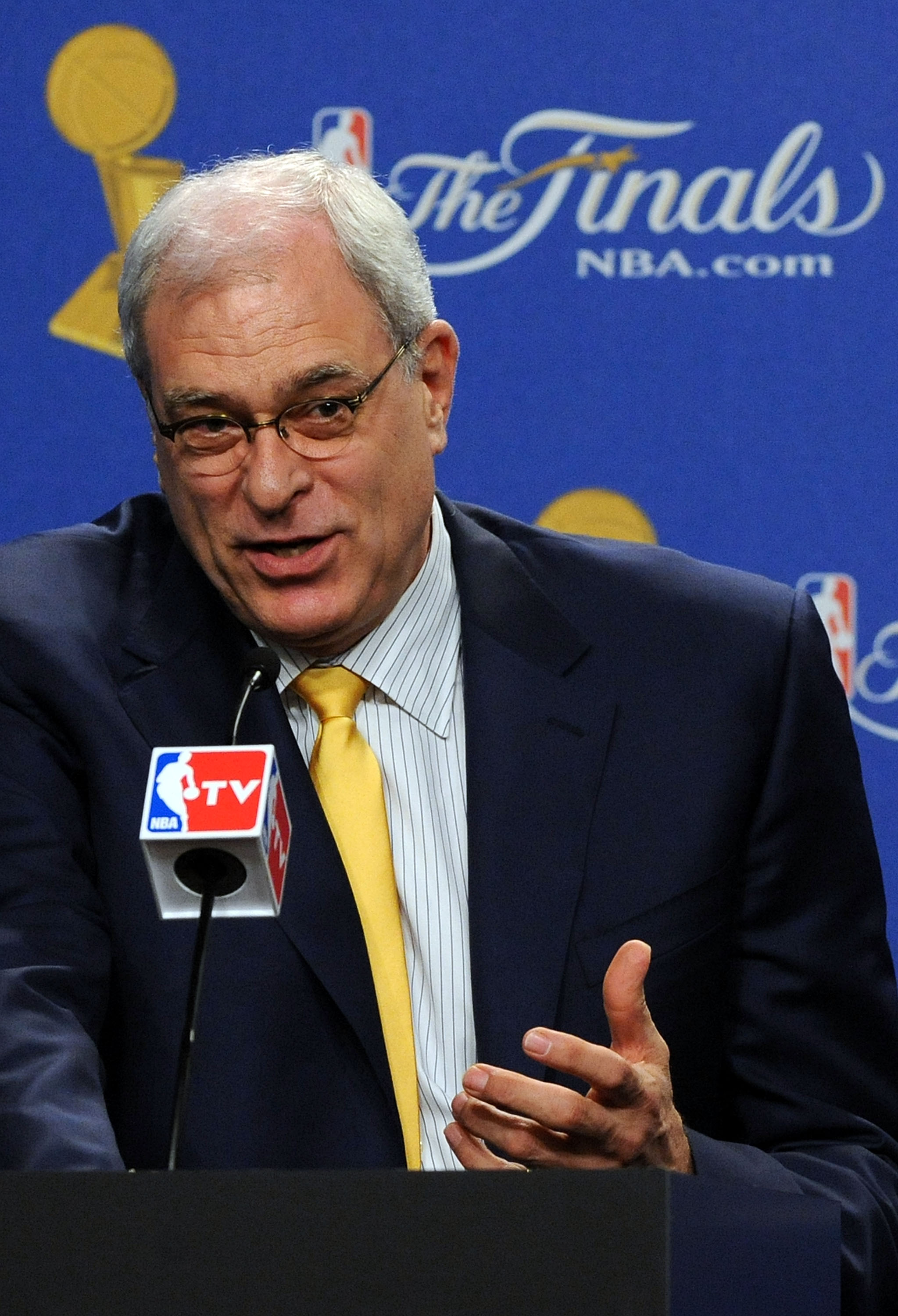 LOS ANGELES, CA - JUNE 17:  Head coach Phil Jackson of the Los Angeles Lakers speaks during a pregame news conference before taking on the Boston Celtics in Game Seven of the 2010 NBA Finals at Staples Center on June 17, 2010 in Los Angeles, California.