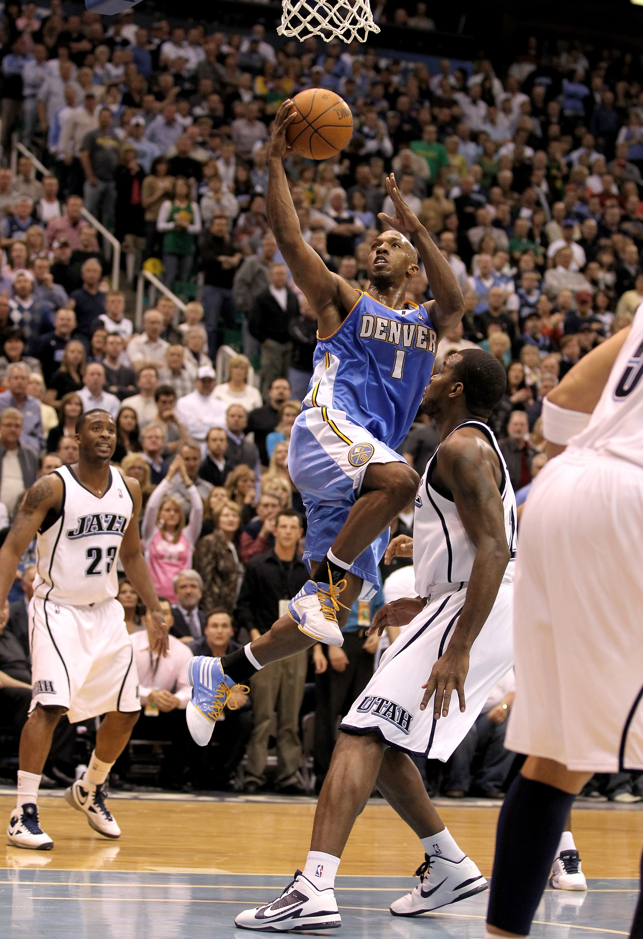 SALT LAKE CITY - APRIL 30:  Chauncey Billups #1 of the Denver Nuggets drives to the basket during their game against the Utah Jazz in Game Six of the Western Conference Quarterfinals of the 2010 NBA Playoffs at EnergySolutions Arena on April 30, 2010 in S