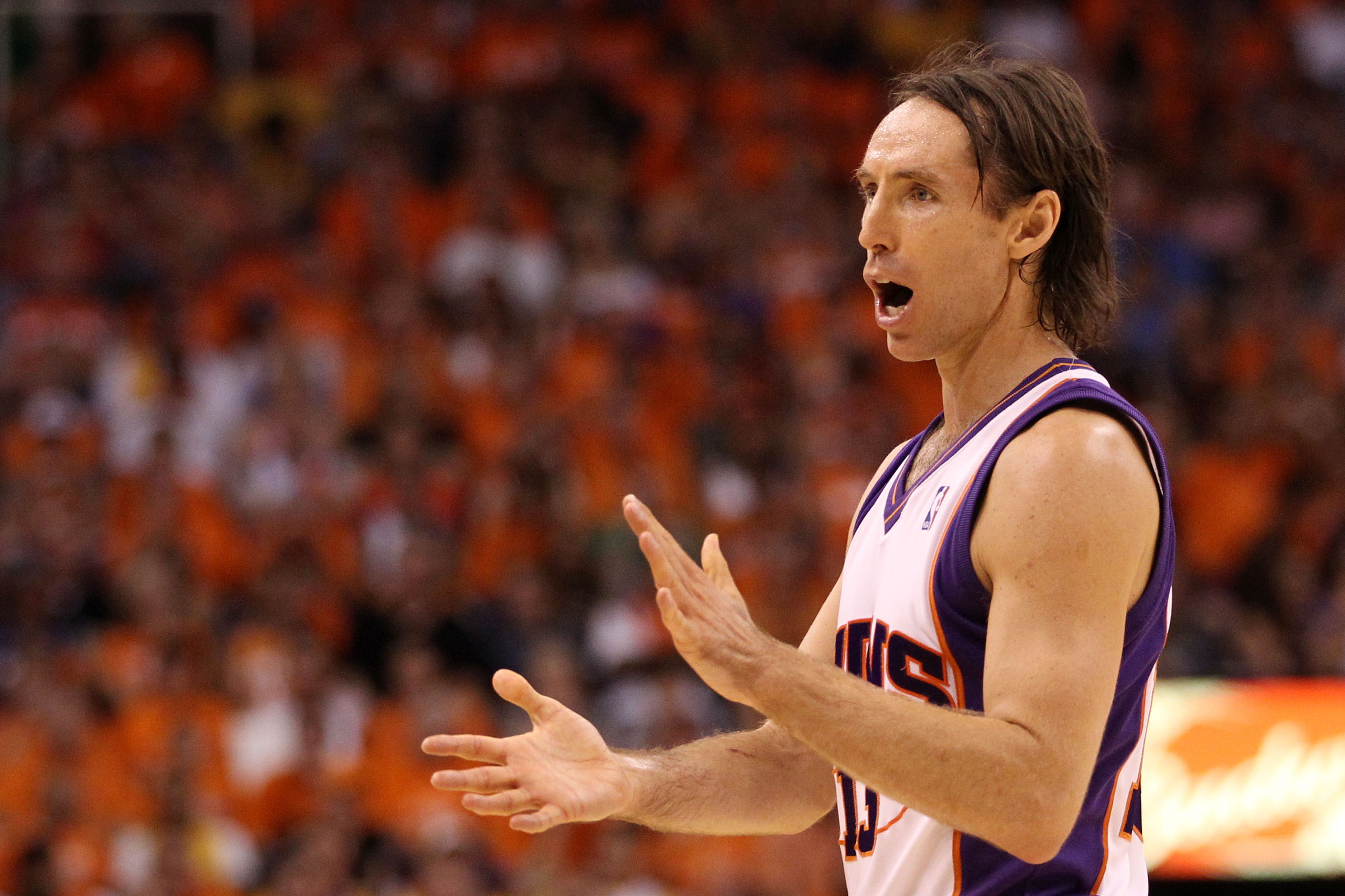 PHOENIX - MAY 29:  Steve Nash #13 of the Phoenix Suns encourages his team against the Los Angeles Lakers in the third quarter of Game Six of the Western Conference Finals during the 2010 NBA Playoffs at US Airways Center on May 29, 2010 in Phoenix, Arizon
