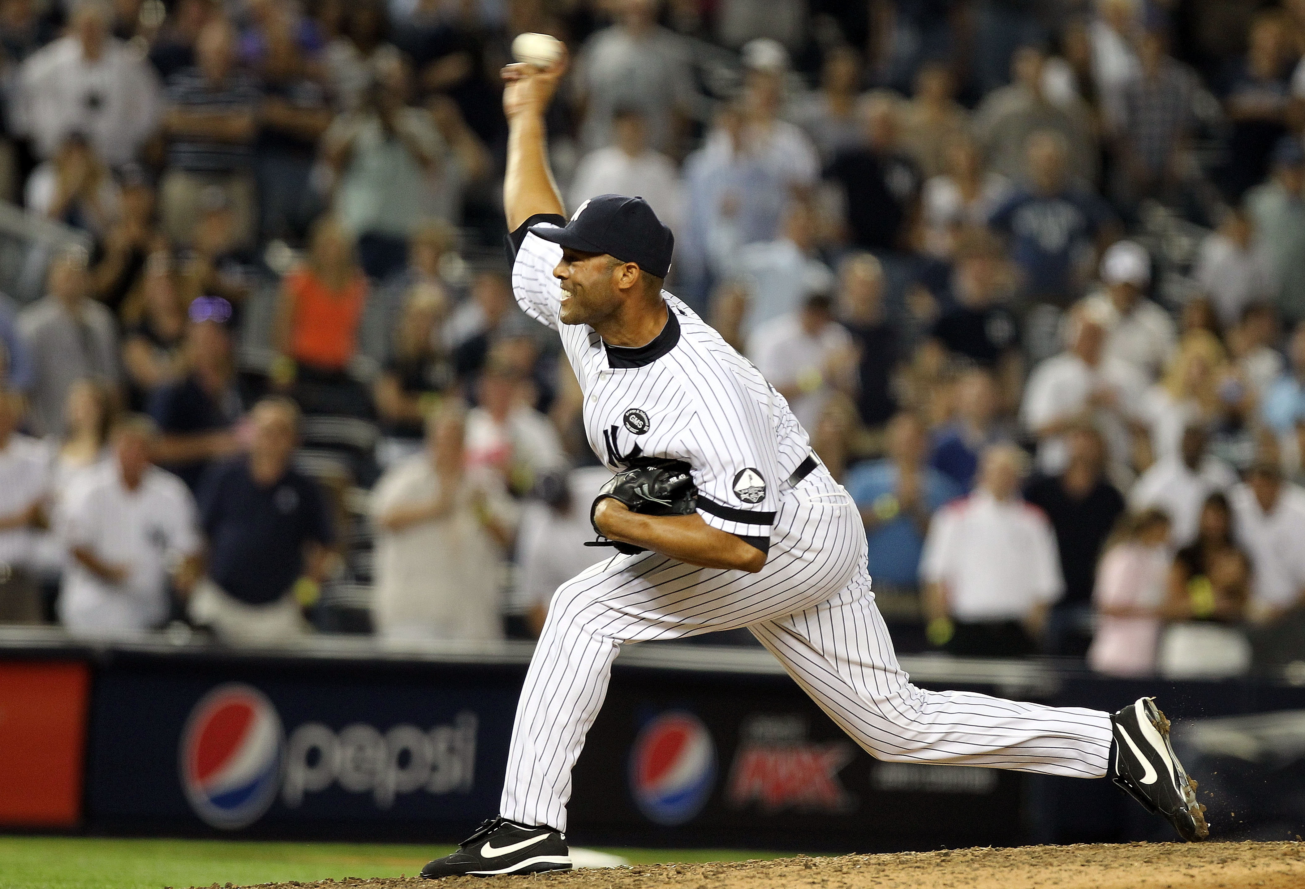 NEW YORK - AUGUST 18:  Mariano Rivera #42 of the New York Yankees pitches against the Detroit Tigers at Yankee Stadium on August 18, 2010 in the Bronx borough of New York City.  (Photo by Nick Laham/Getty Images)