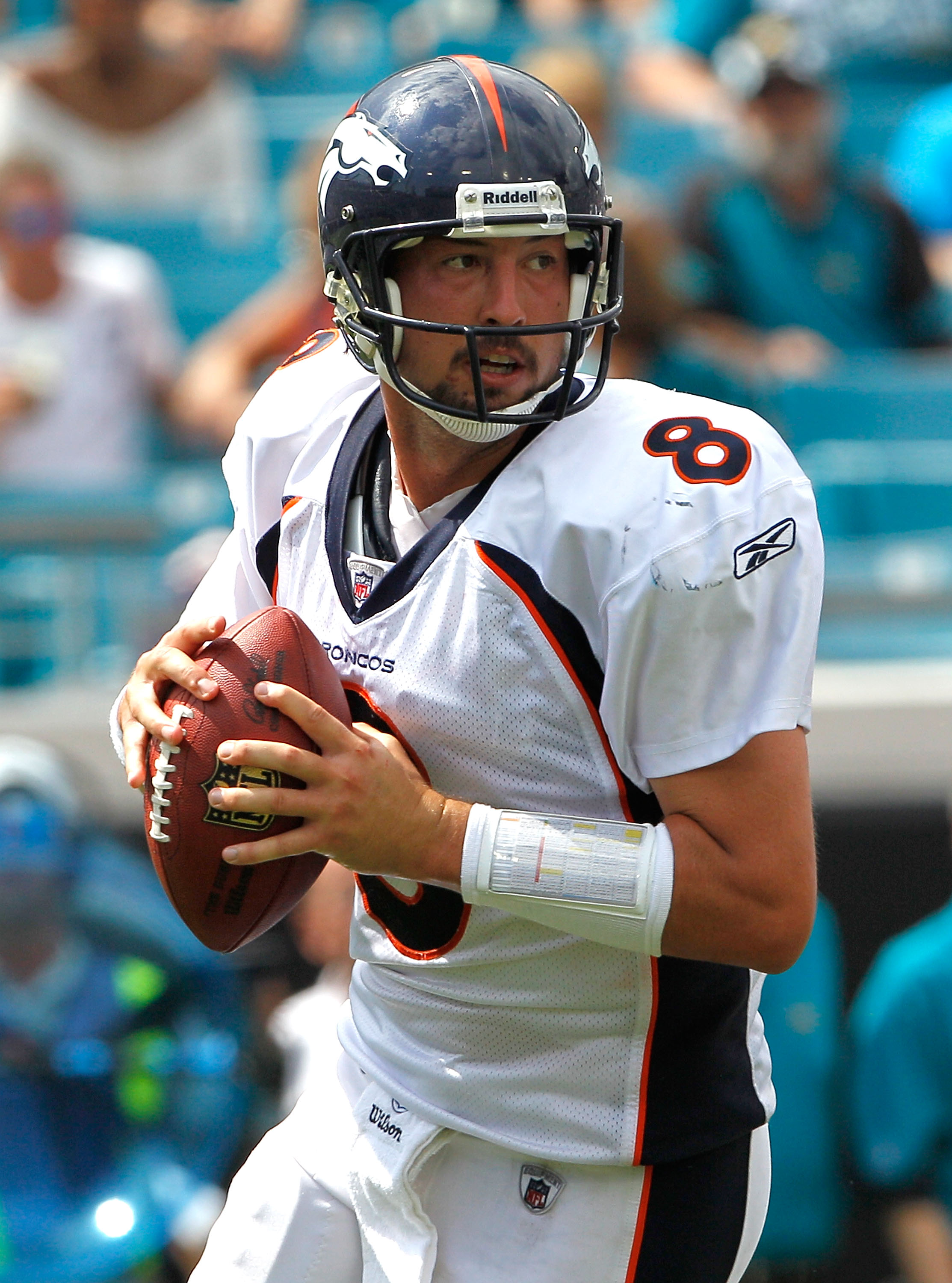 JACKSONVILLE, FL - SEPTEMBER 12:  Quarterback Kyle Orton #8 of the Denver Broncos attempts a pass during the NFL season opener game against the Jacksonville Jaguars at EverBank Field on September 12, 2010 in Jacksonville, Florida.  (Photo by Sam Greenwood