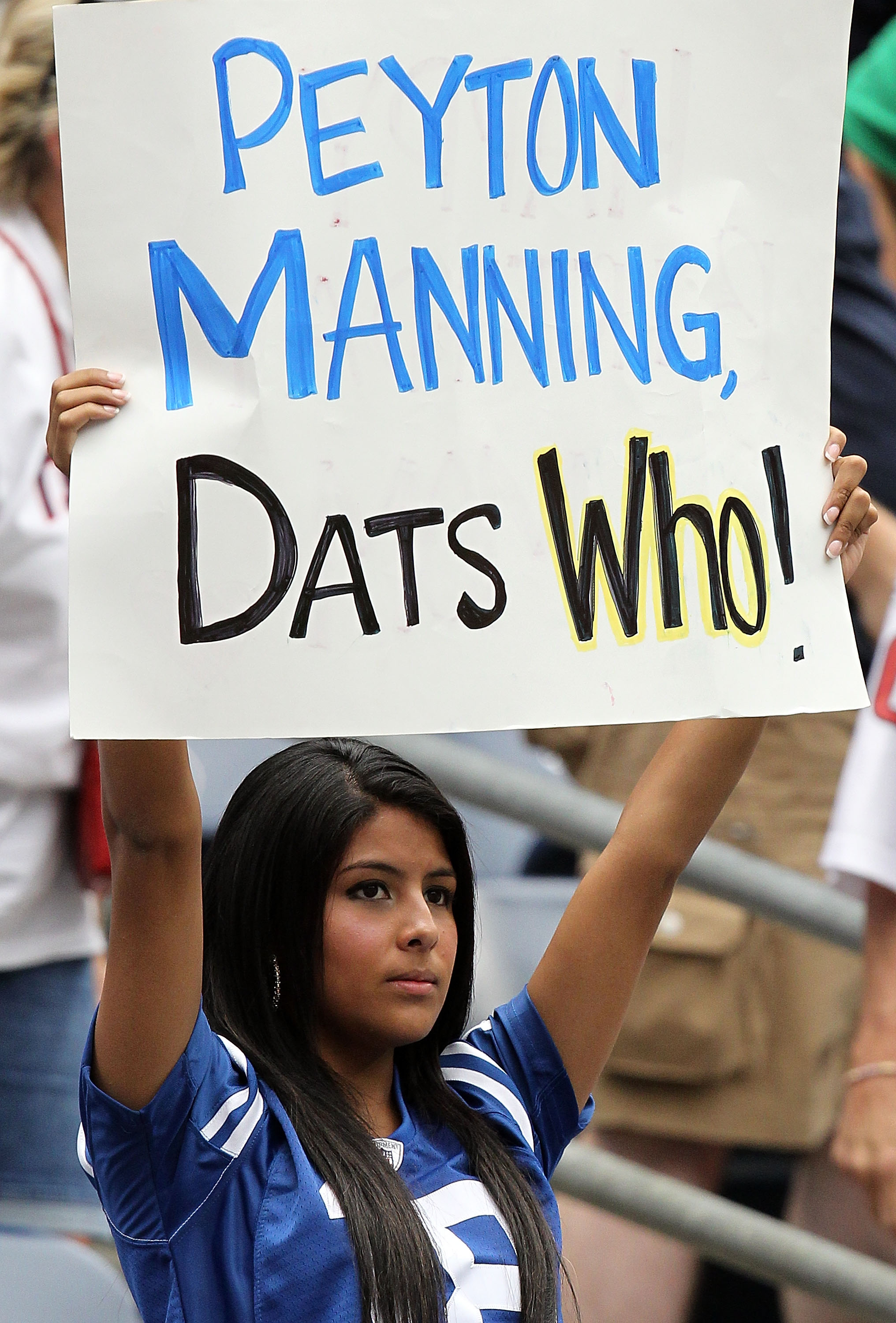 HOUSTON - SEPTEMBER 12: A fan of the Indianapolis Colts holds up a sign for Peyton Manning during the NFL season opener against the Houston Texans at Reliant Stadium on September 12, 2010 in Houston, Texas.  (Photo by Ronald Martinez/Getty Images)