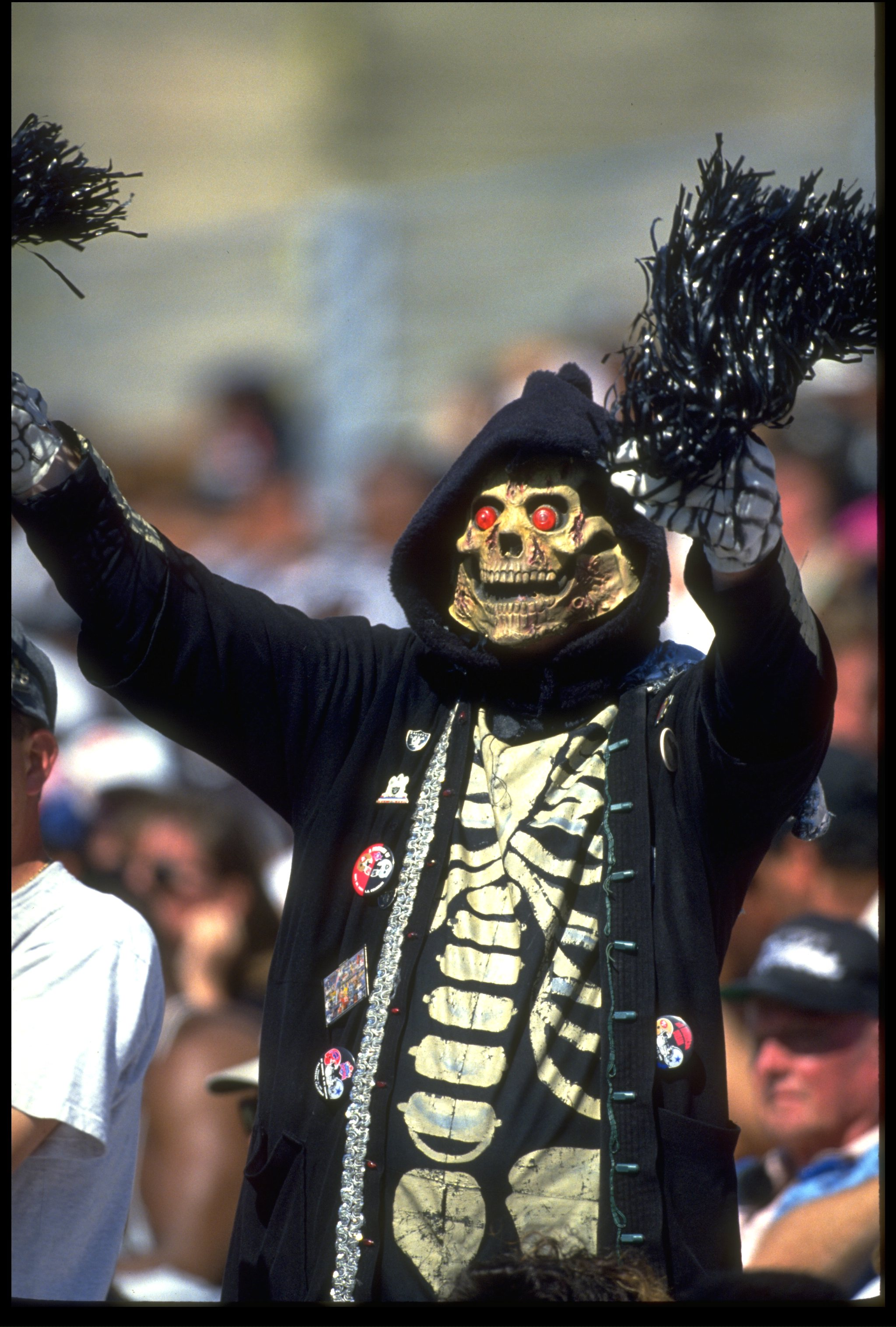 5 SEP 1993:  A DIEHARD LOS ANGELES RAIDERS FAN SUPPORTS HIS TEAM DURING THE RAIDERS 24-7 WIN OVER THE MINNESOTA VIKINGS AT THE MEMORIAL COLISEUM IN LOS ANGELES, CALIFORNIA.  MANDATORY CREDIT:  MIKE POWELL/ALLSPORT