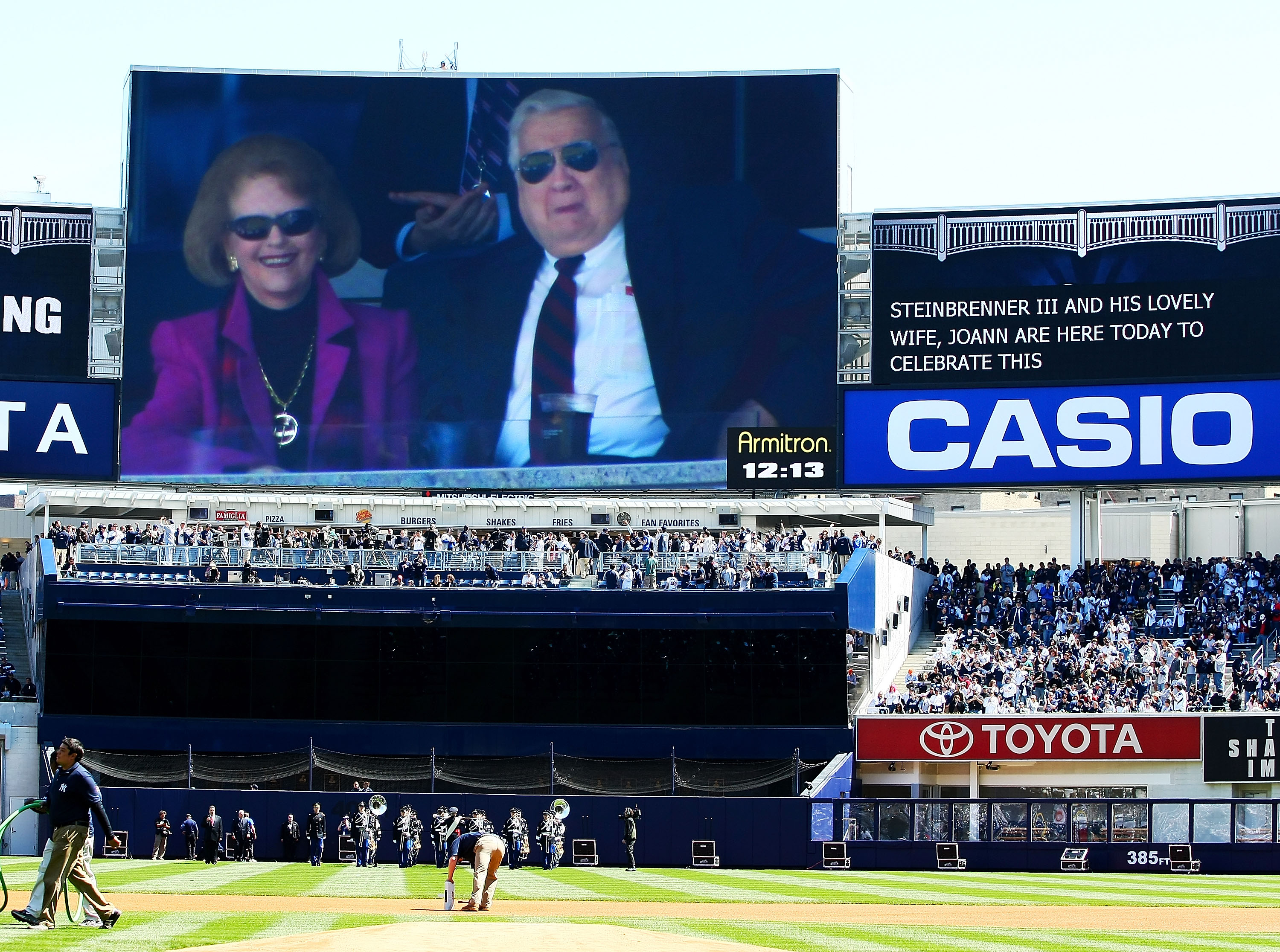 NEW YORK - APRIL 16:  Owner George Steinbrenner (R) is seen on the jumbotron during an opening day ceremony at the new Yankee Stadium on April 16, 2009 in the Bronx borough of New York City. This is the first regular season MLB game being played at the ne