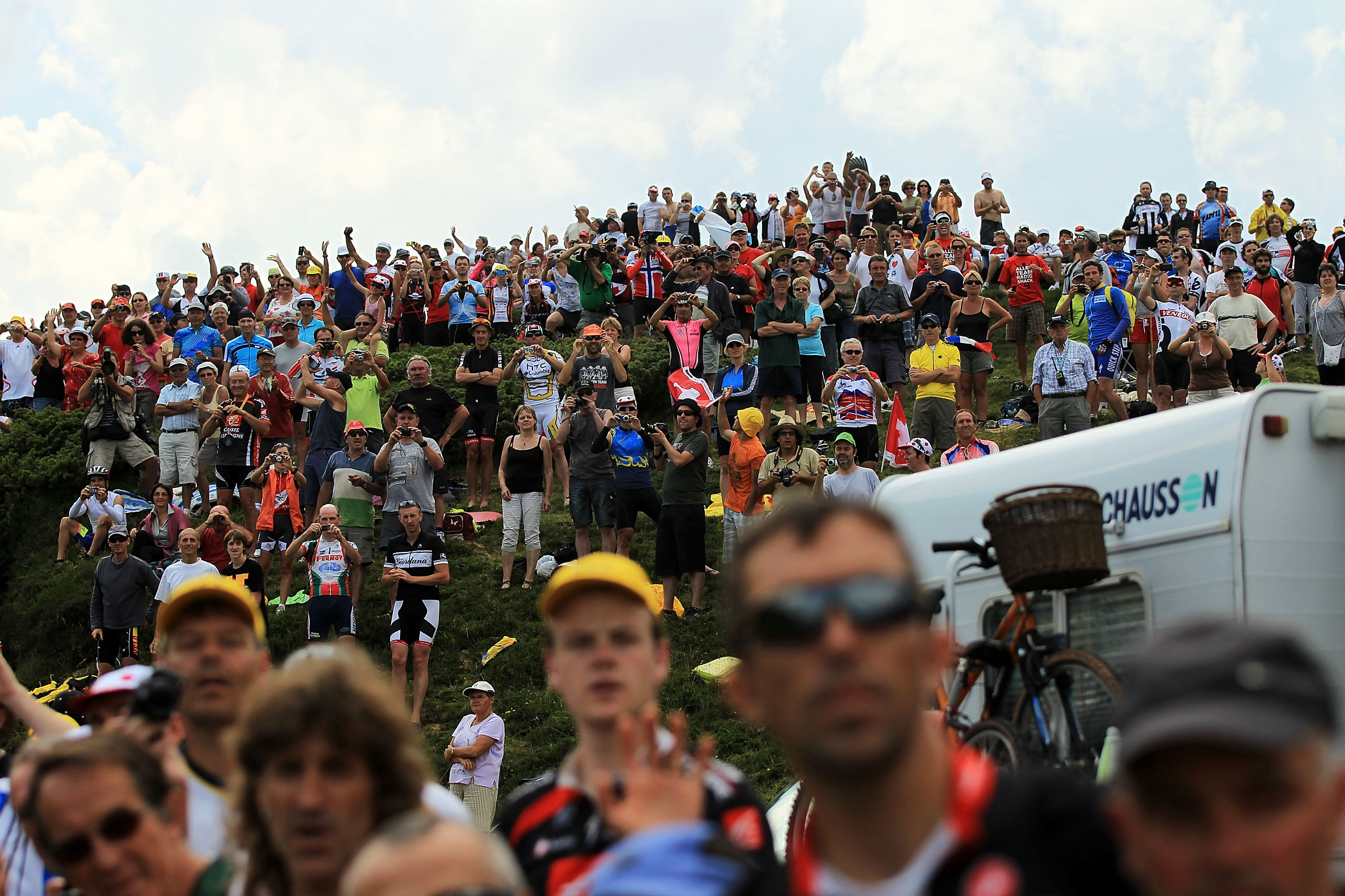 PAU, FRANCE - JULY 20: Tens of thousands of fans lined the roads of stage 16 of the Tour de France on July 20, 2010 in Pau, France. The stage, between Bagneres-de-Luchon and Pau, featured four major climbs including the Col du Tourmalet. French rider Pier