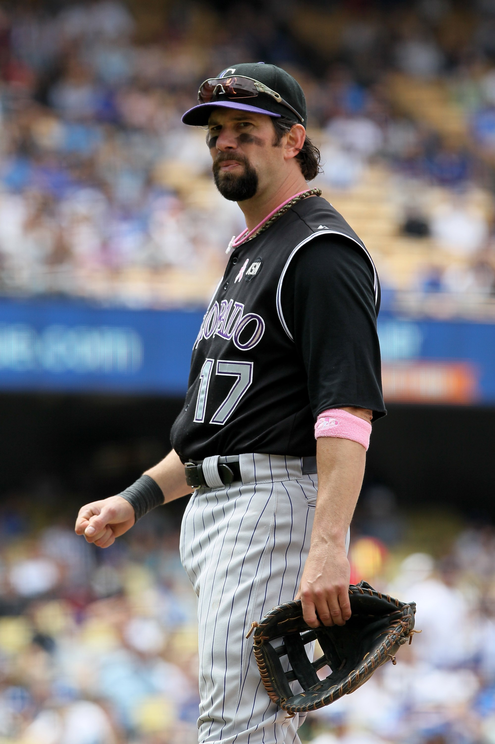 LOS ANGELES, CA - MAY 09:  Todd Helton #17 of the Colorado Rockies looks on against the Los Angeles Dodgers at Dodger Stadium on May 9, 2010 in Los Angeles, California.  (Photo by Jeff Gross/Getty Images)