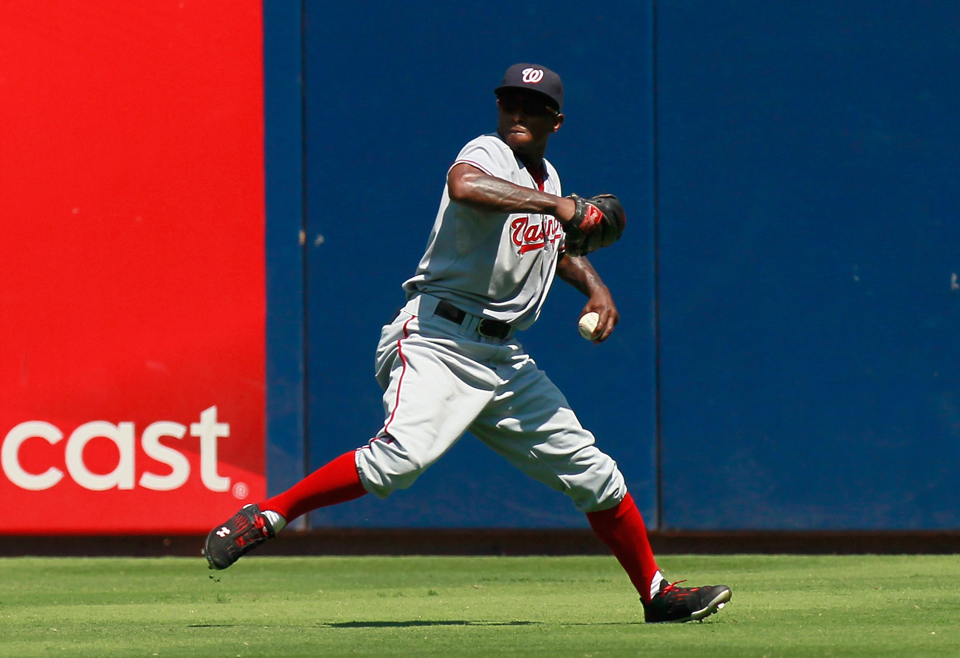 ATLANTA - SEPTEMBER 15:  Nyjer Morgan #1 of the Washington Nationals throws the ball into the infield against the Atlanta Braves at Turner Field on September 15, 2010 in Atlanta, Georgia.  (Photo by Kevin C. Cox/Getty Images)