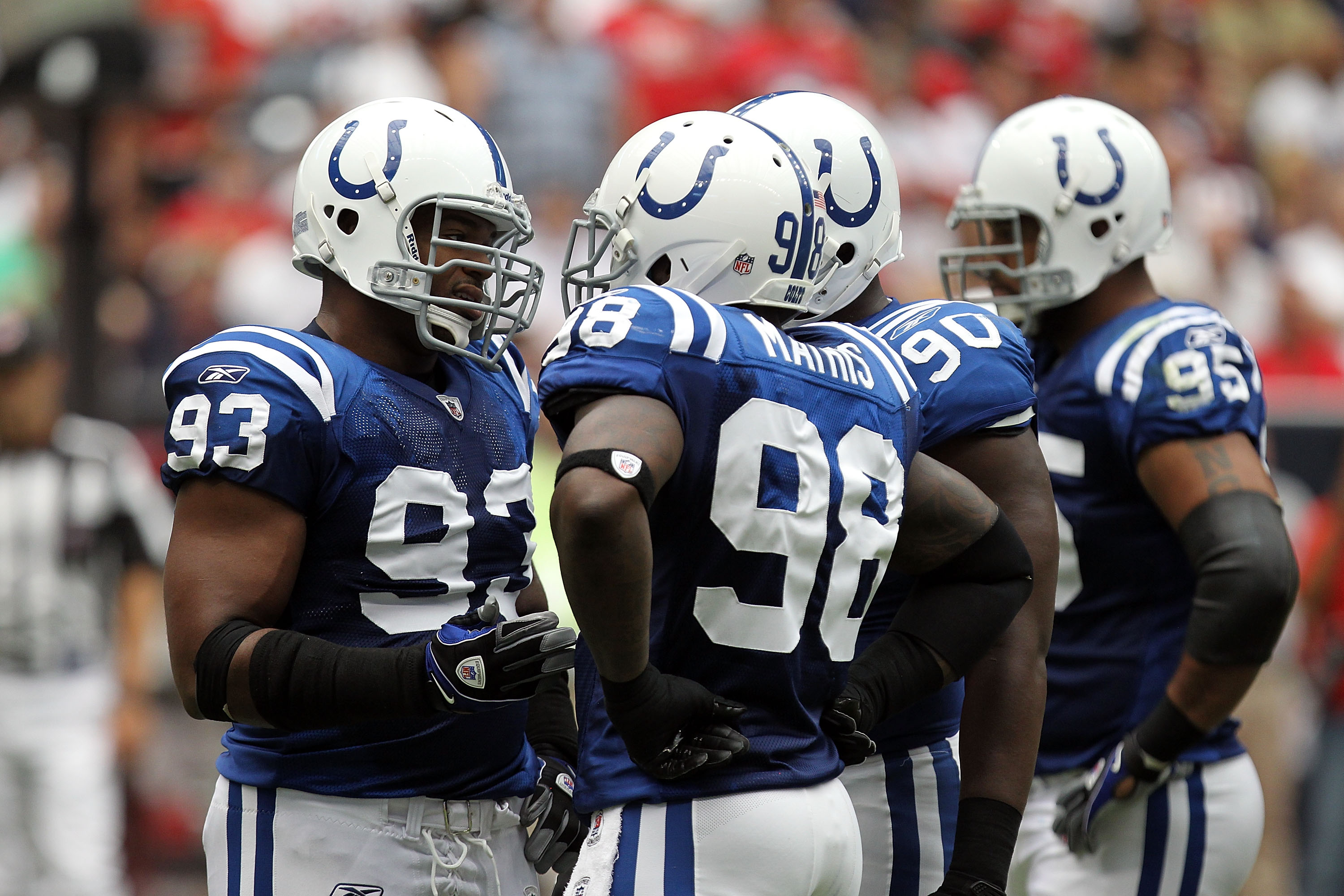 HOUSTON - SEPTEMBER 12:  Defensive end Dwight Freeney #93 and Robert Mathis #98 of the Indianapolis Colts at Reliant Stadium on September 12, 2010 in Houston, Texas.  (Photo by Ronald Martinez/Getty Images)