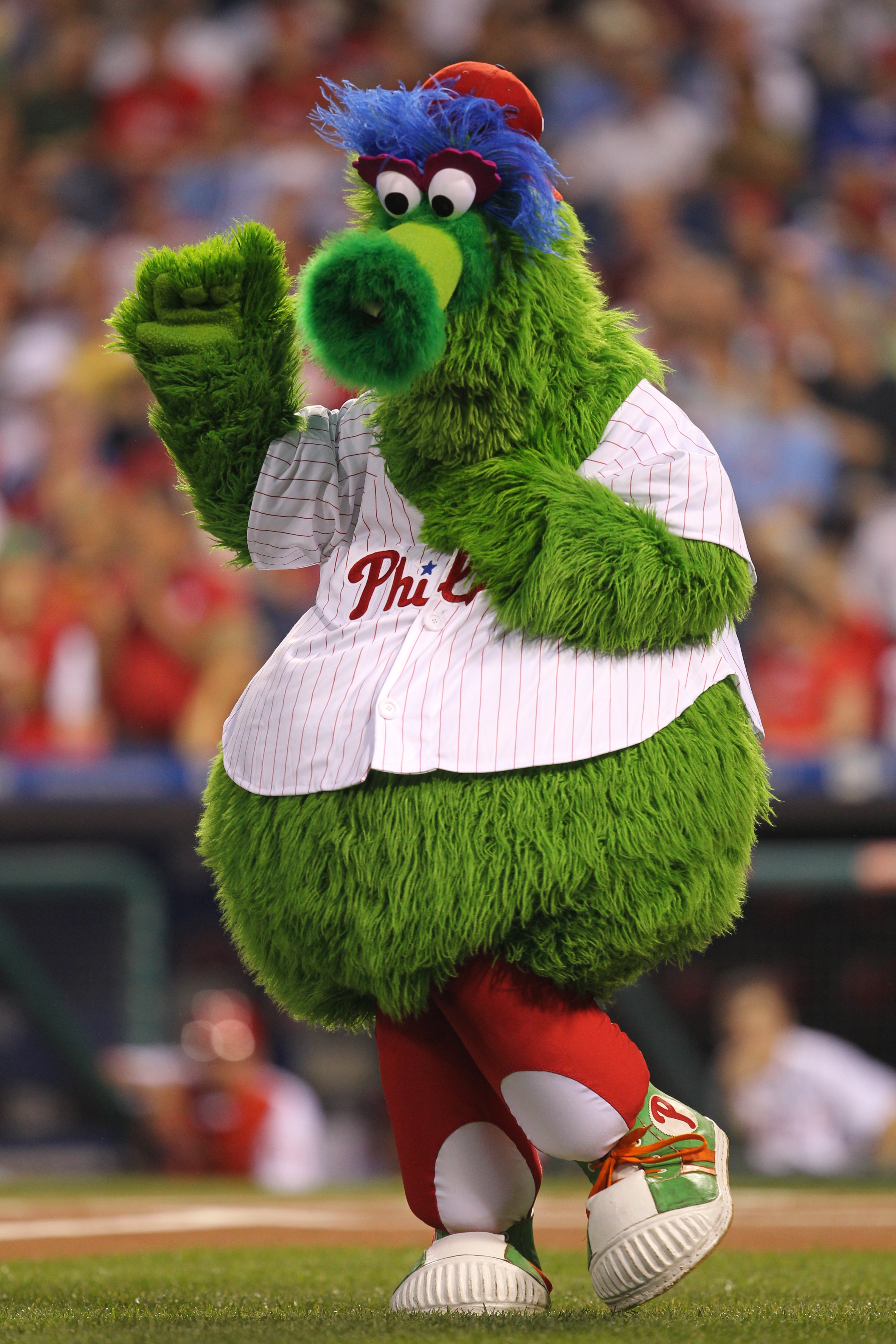 PHILADELPHIA - MAY 2: The Phillie Phanatic performs during the game between the New York Mets and the Philadelphia Phillies at Citizens Bank Park on May 2, 2010 in Philadelphia, Pennsylvania. The Phillies won 11-5. (Photo by Hunter Martin/Getty Images)