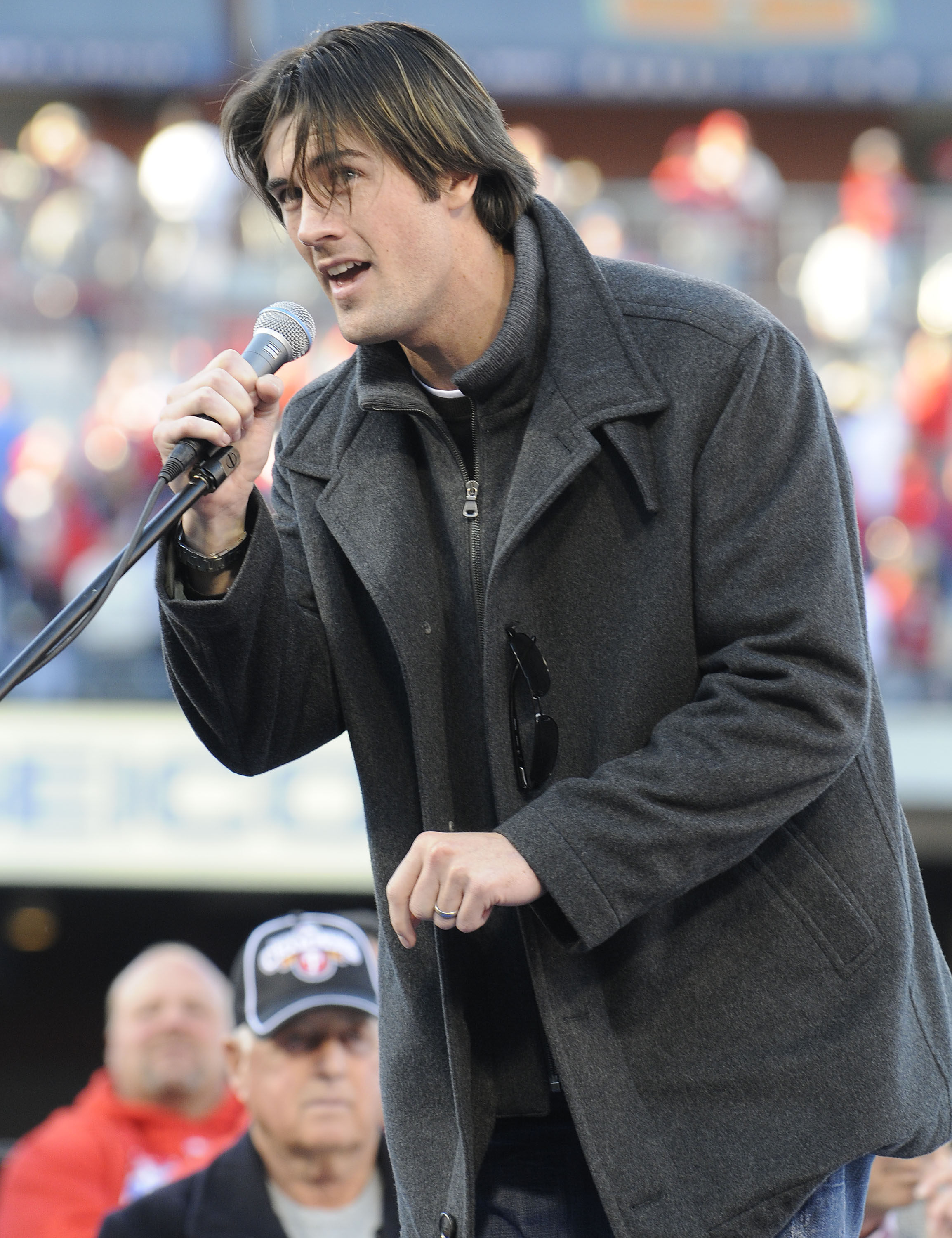 PHILADELPHIA, PA - OCTOBER 31: Philadelphia Phillies Cole Hamels  speaks at a victory rally at Citizens Bank Park October 31, 2008 in Philadelphia, Pennsylvania. The Phillies defeated the Tampa Bay  Rays to win their first World Series in 28 years. (Photo