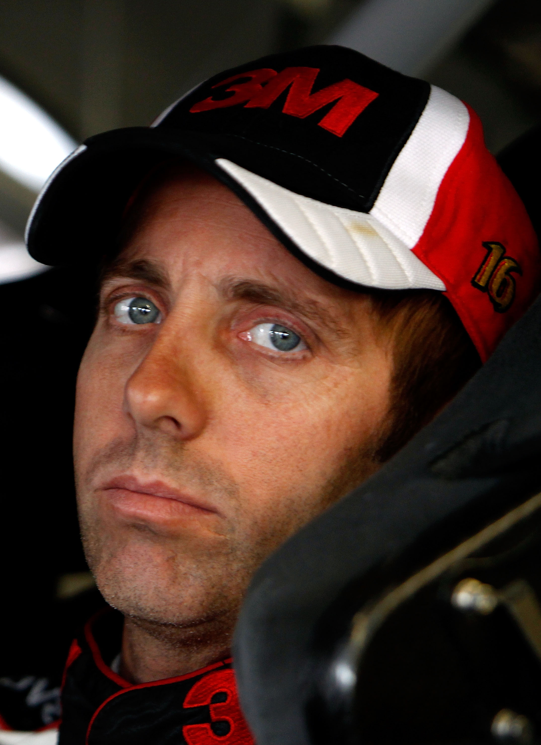 LOUDON, NH - SEPTEMBER 18:  Greg Biffle, driver of the #16 3M Ford, looks on during practice for the NASCAR Sprint Cup Series Sylvania 300 at New Hampshire Motor Speedway on September 18, 2010 in Loudon, New Hampshire.  (Photo by Jeff Zelevansky/Getty Ima