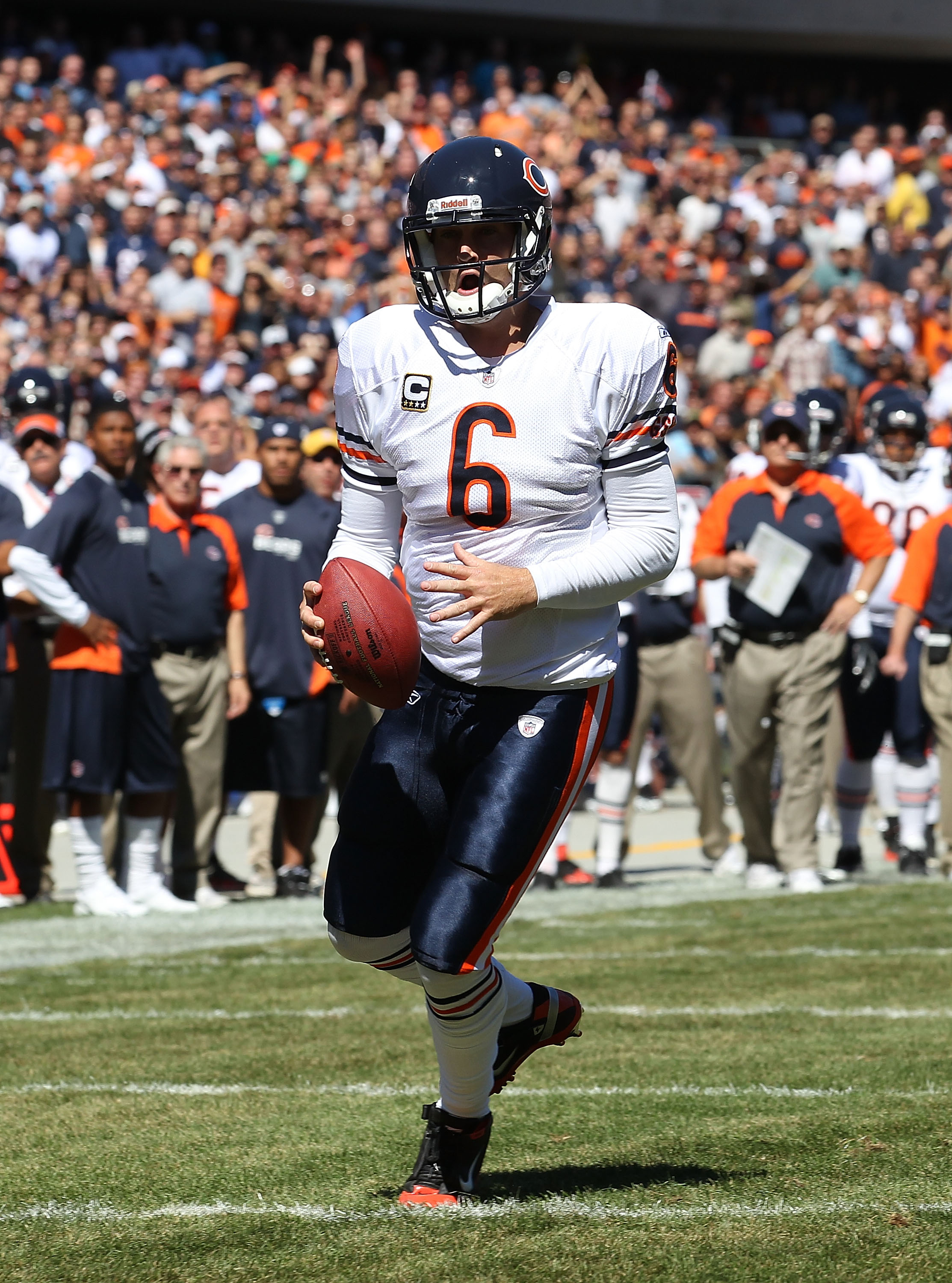 CHICAGO - SEPTEMBER 12: Jay Cutler #6 of the Chicago Bears runs toward the end zone against the Detroit Lions during the NFL season opening game at Soldier Field on September 12, 2010 in Chicago, Illinois. The Bears defeated the Lions 19-14. (Photo by Jon