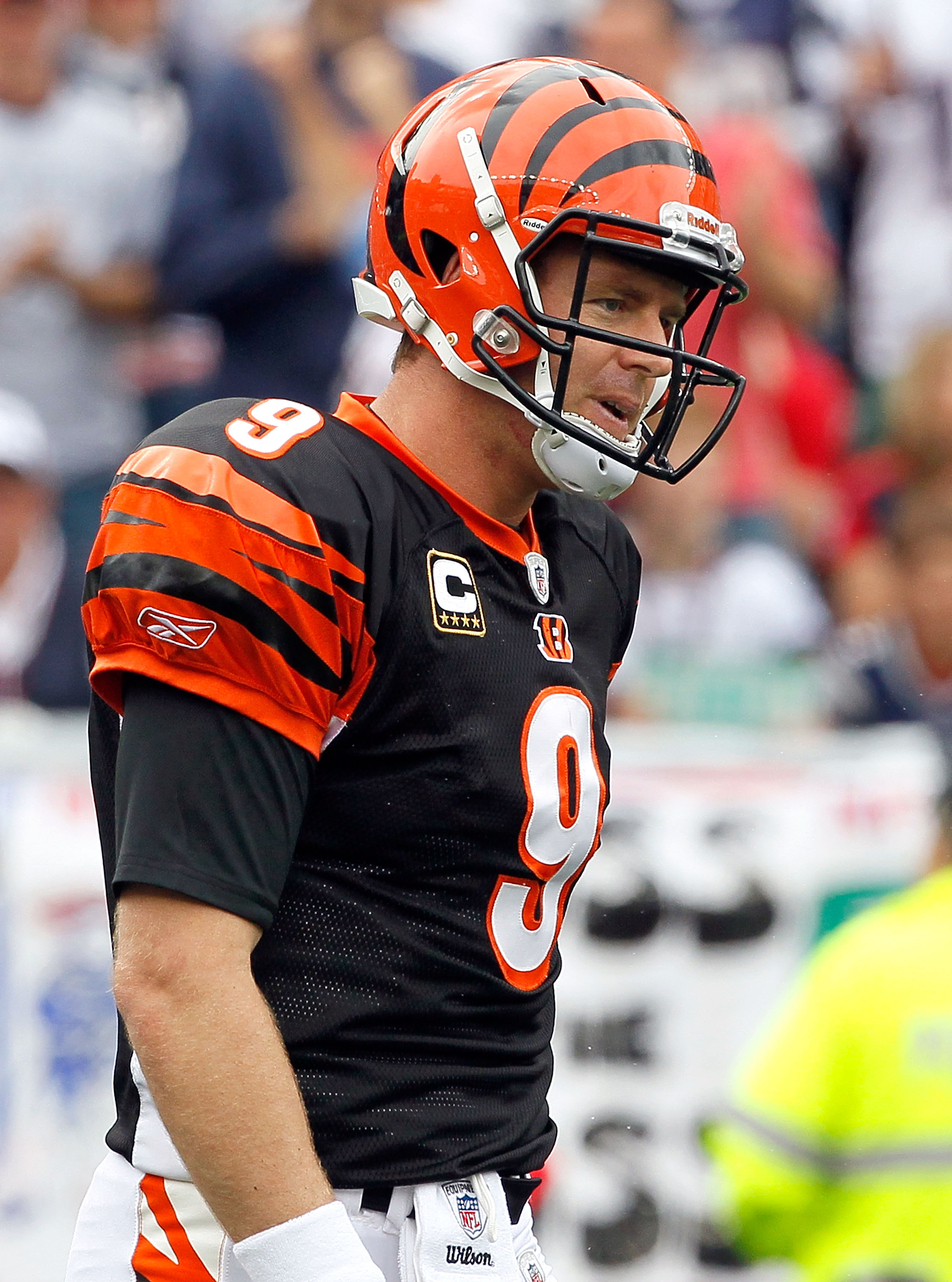 FOXBORO, MA - SEPTEMBER 12: Quarterback Carson Palmer #9 of the Cincinnati Bengals reacts during the NFL season opener against the New England Patriots  at Gillette Stadium on September 12, 2010 in Foxboro, Massachusetts. (Photo by Jim Rogash/Getty Images