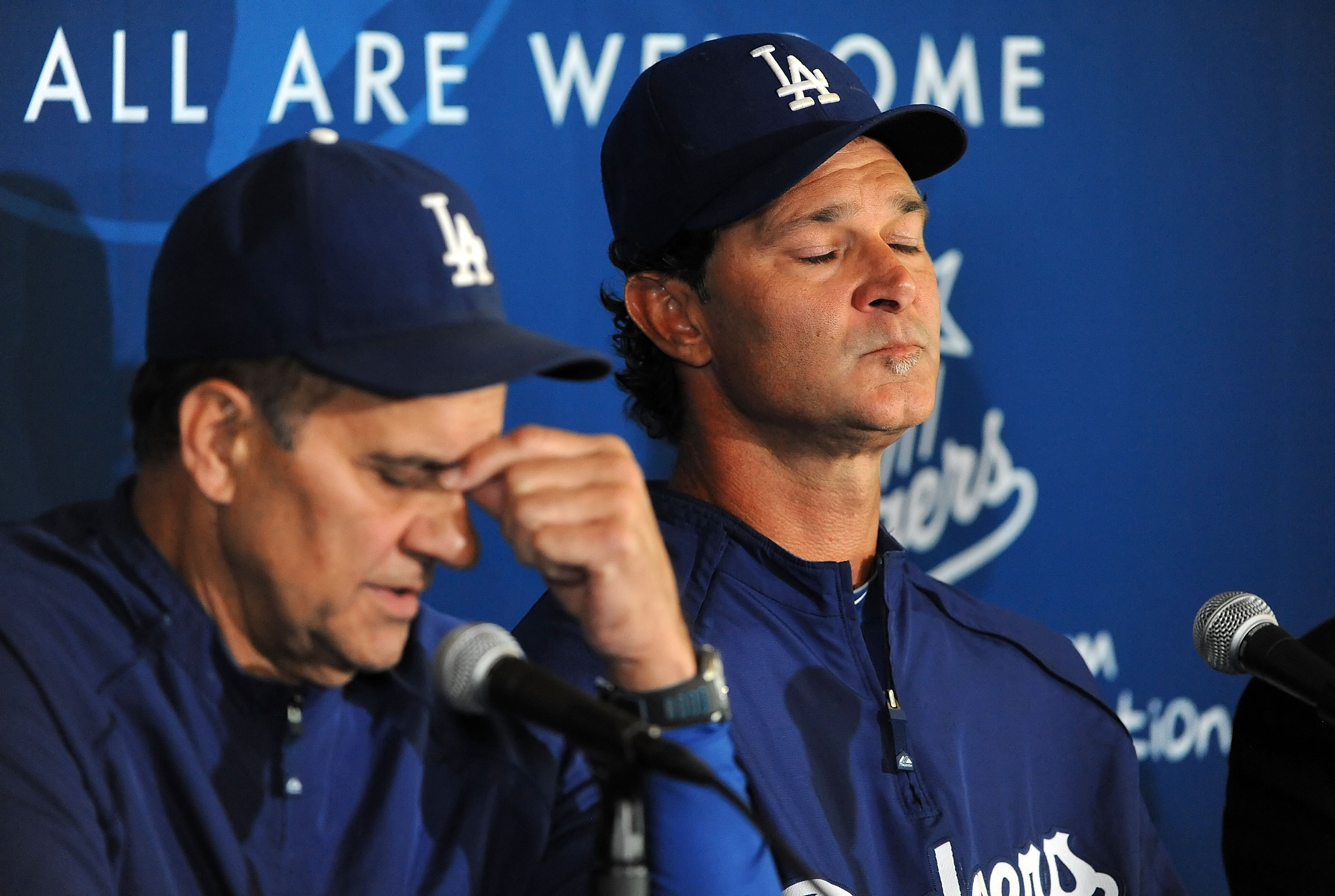 LOS ANGELES, CA - SEPTEMBER 17:  Manager Joe Torre (L) and coach Don Mattingly of the Los Angeles Dodgers attend a press conference announcing that Mattingly will manage the Dodgers in 2011 after Torre retires at Dodger Stadium on September 17, 2010 in Lo