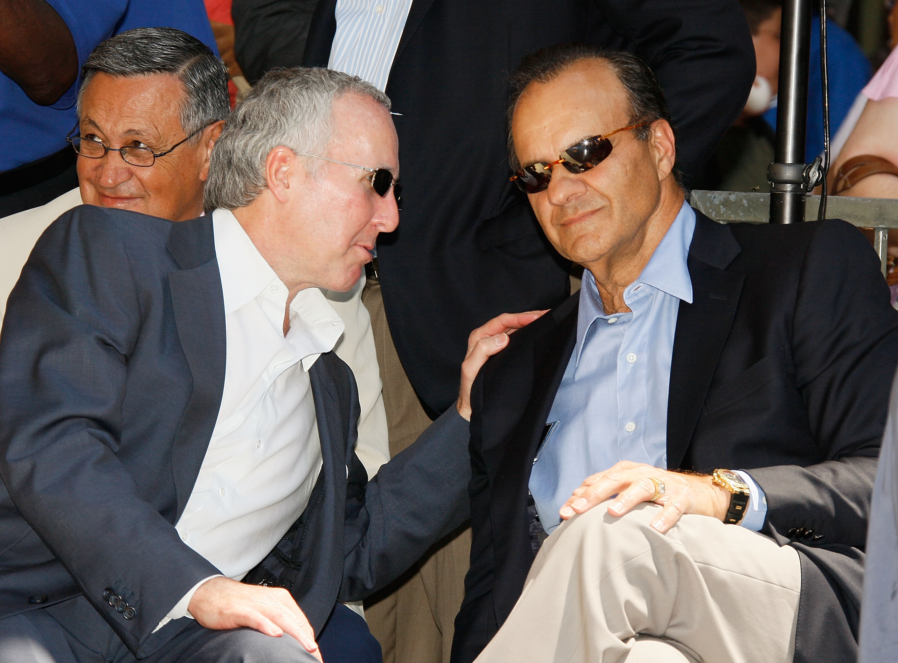 HOLLYWOOD - JUNE 20:  Team owner Frank McCourt (L) and manager Joe Torre attend a special star ceremony honoring the Los Angeles Dodgers with an Award of Excellence on the Hollywood Walk of Fame on June 20, 2008 in Hollywood, California.  (Photo by Vince