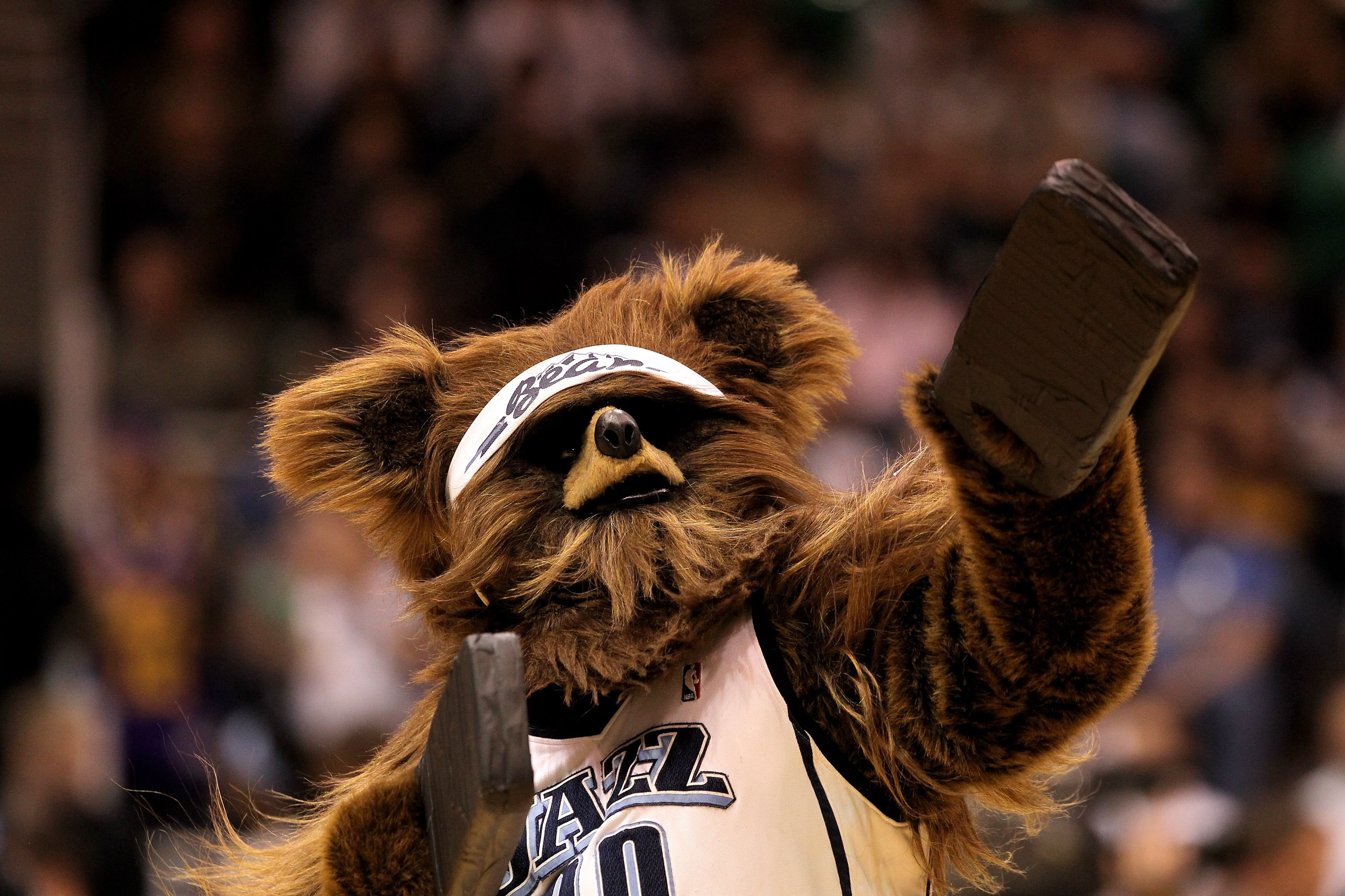 SALT LAKE CITY - APRIL 30:  The Utah Jazz mascot, Bear, performs during a time out of their game against the Denver Nuggets during Game Six of the Western Conference Quarterfinals of the 2010 NBA Playoffs at EnergySolutions Arena on April 30, 2010 in Salt