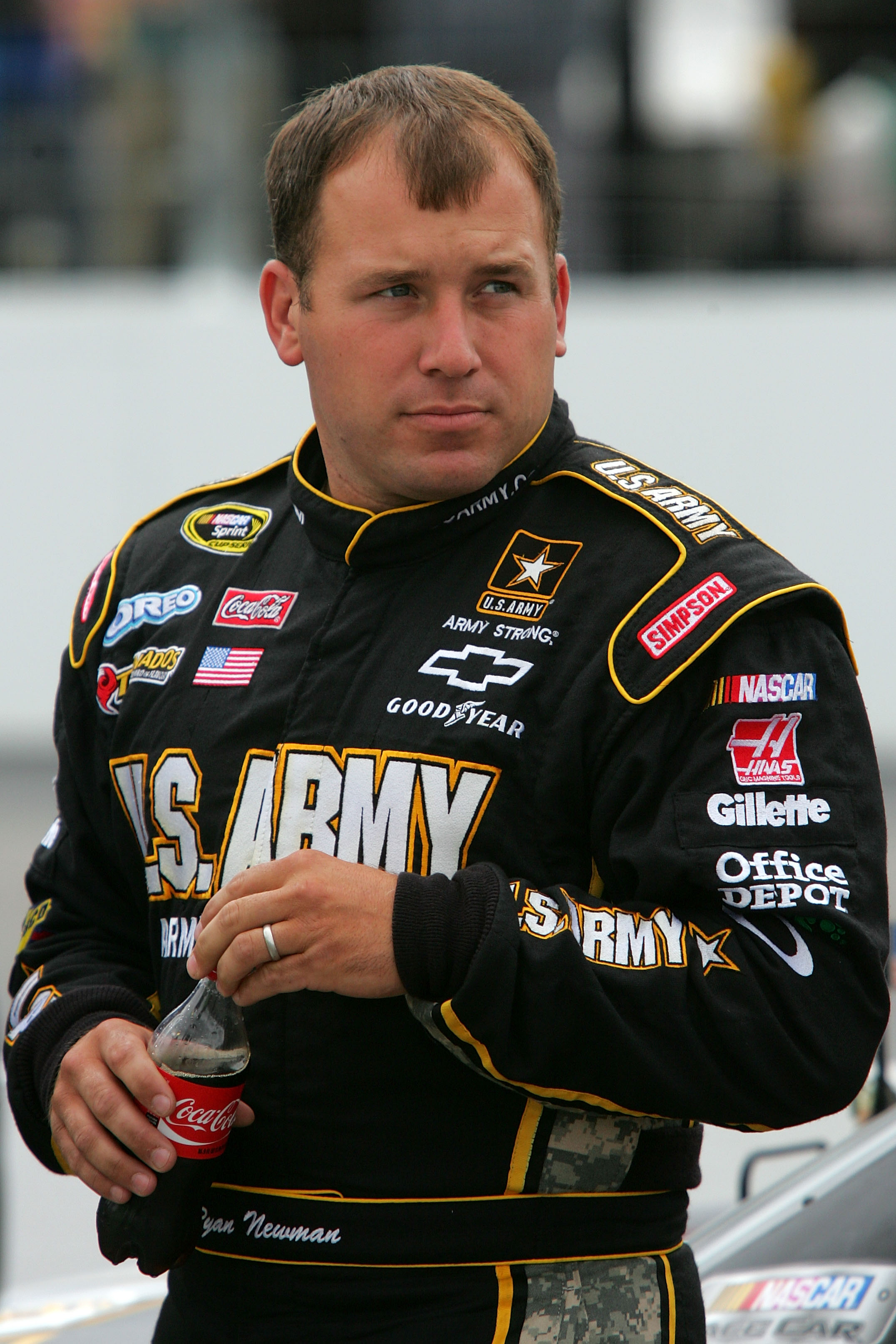 LOUDON, NH - SEPTEMBER 17:  Ryan Newman, driver of the #39 U.S. Army Chevolret, looks on during qualifying for the NASCAR Sprint Cup Series Sylvania 300 at New Hampshire Motor Speedway on September 17, 2010 in Loudon, New Hampshire.  (Photo by Jerry Markl