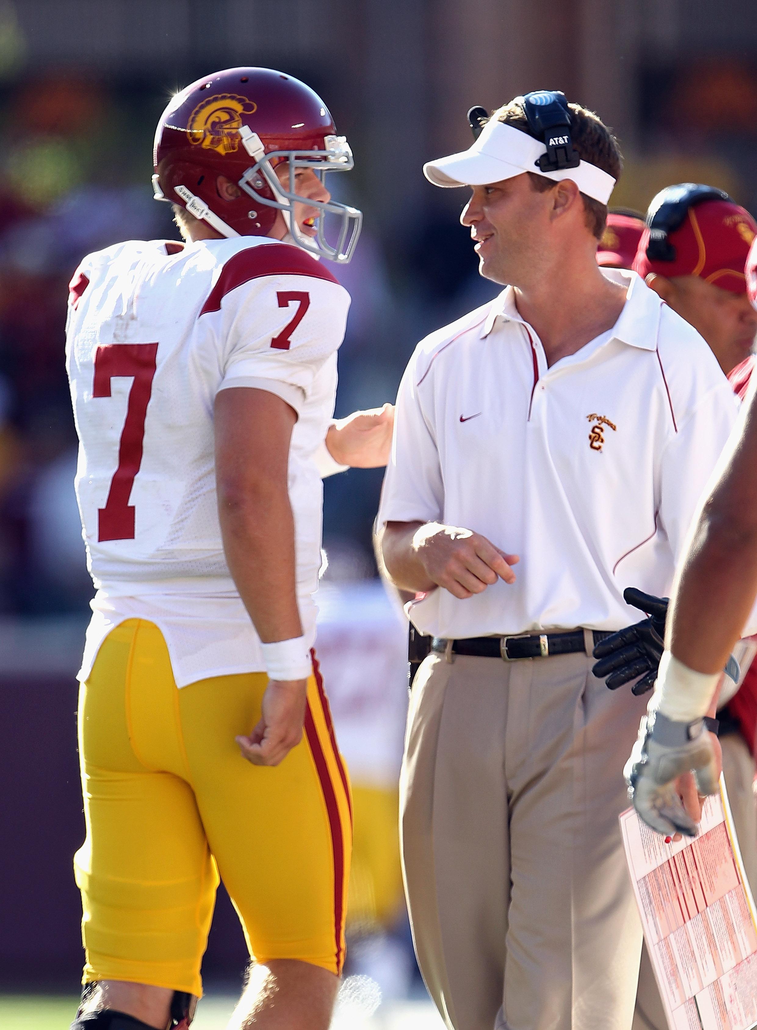 Matt Barkley talking with USC Head Coach Lane Kiffin