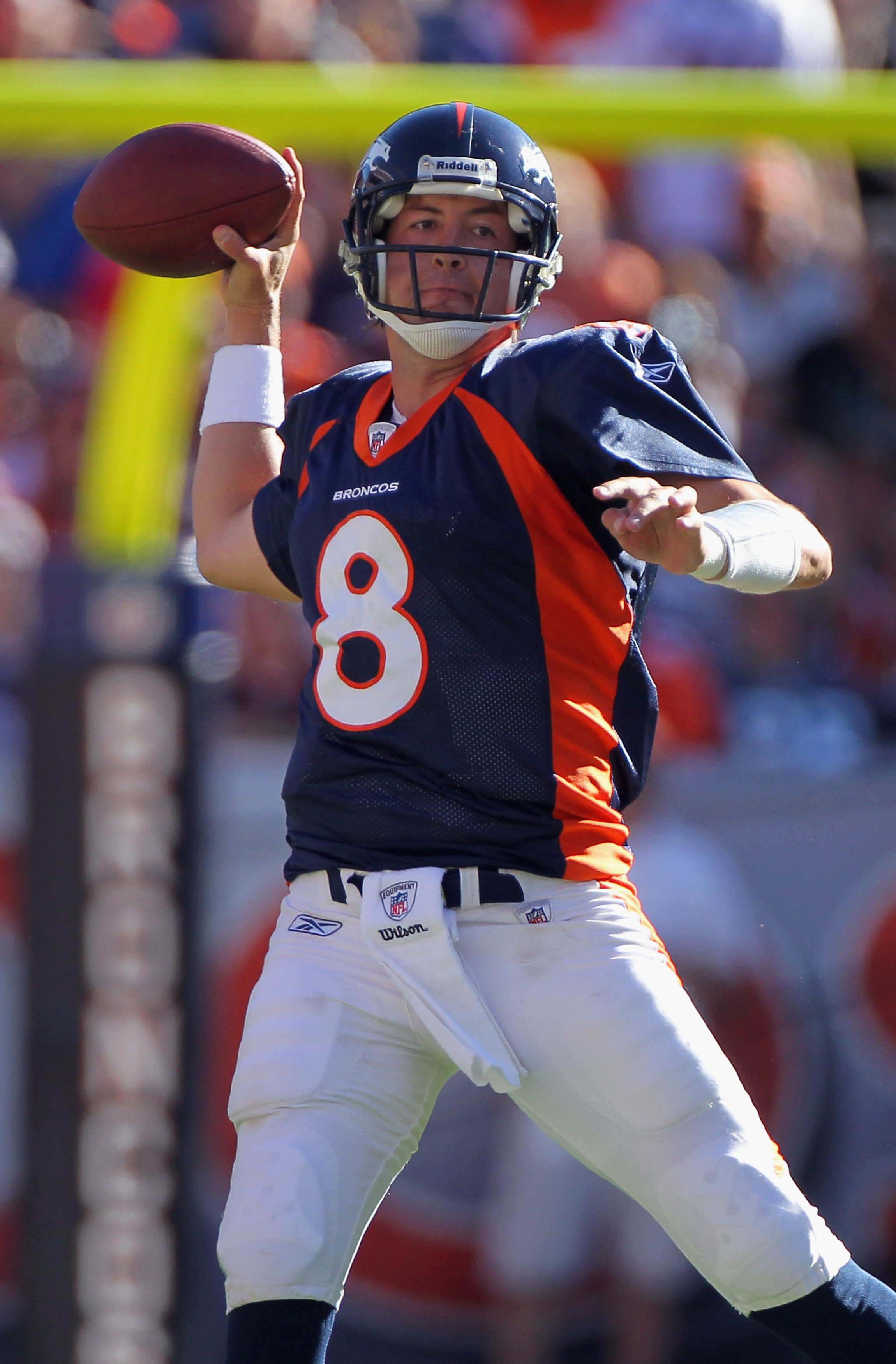 DENVER - SEPTEMBER 19:  Quarterback Kyle Orton #8 of the Denver Broncos against the Seattle Seahawks at INVESCO Field at Mile High on September 19, 2010 in Denver, Colorado. The Broncos defeated the Seahawks 31-14.  (Photo by Doug Pensinger/Getty Images)