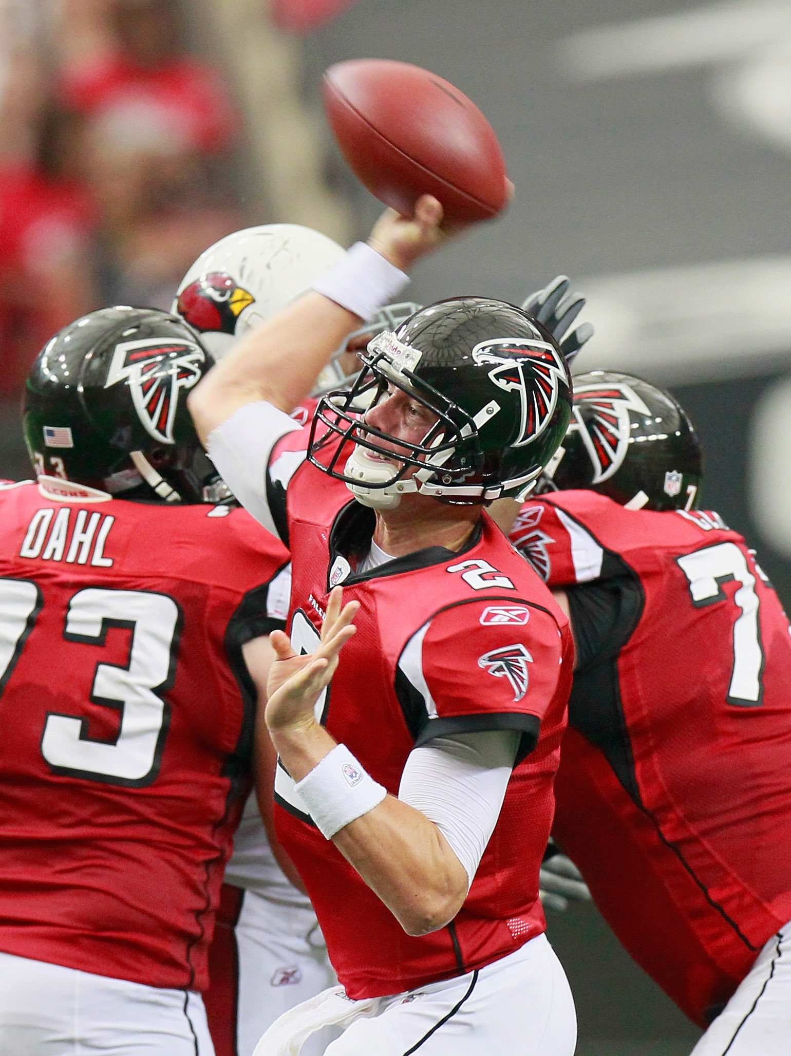 ATLANTA - SEPTEMBER 19:  Quarterback Matt Ryan #2 of the Atlanta Falcons looks to pass against the Arizona Cardinals at Georgia Dome on September 19, 2010 in Atlanta, Georgia.  (Photo by Kevin C. Cox/Getty Images)