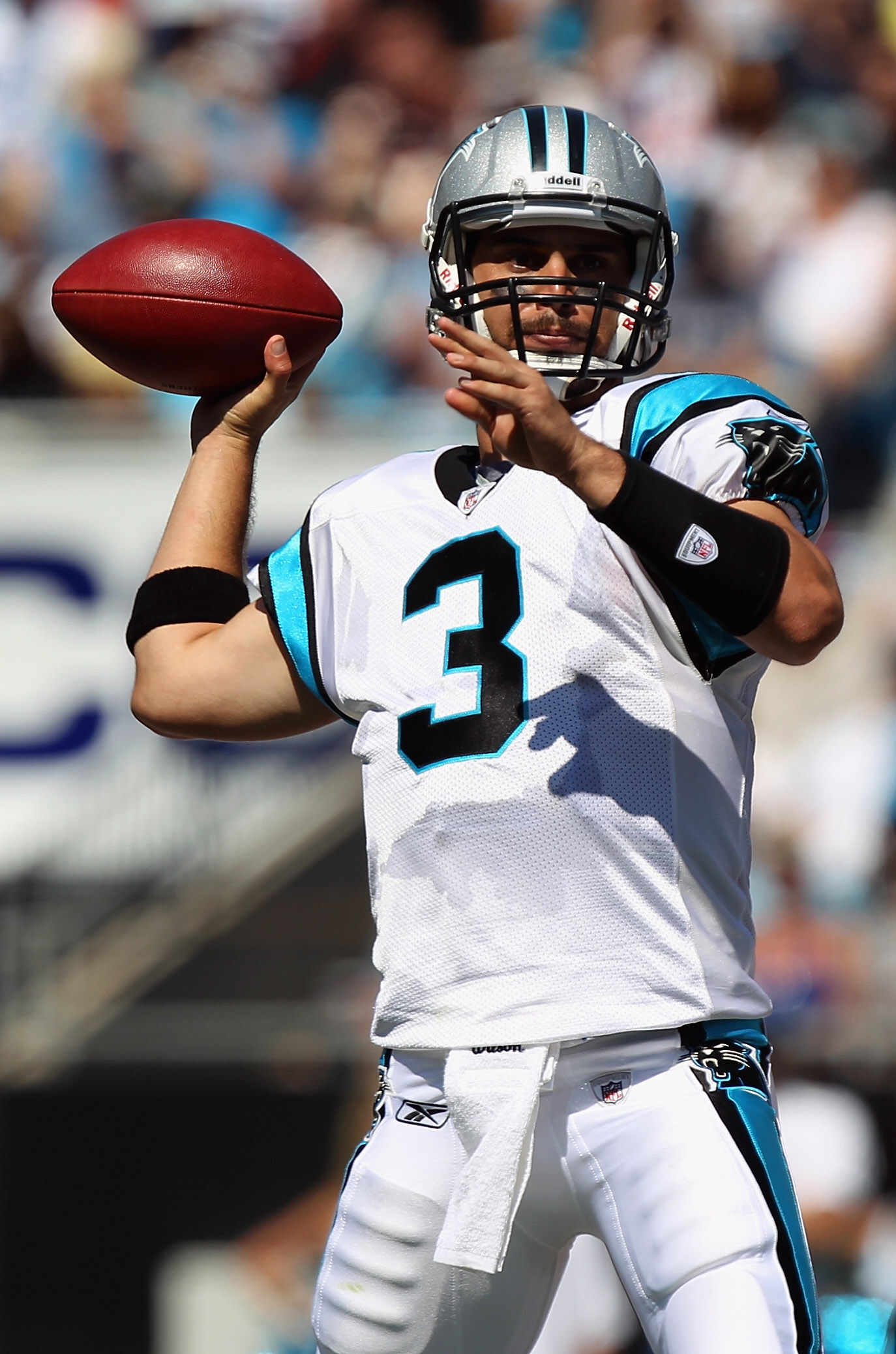 CHARLOTTE, NC - SEPTEMBER 19:  Matt Moore #3 of the Carolina Panthers drops back to throw a pass during their game against the Tampa Bay Buccaneers at Bank of America Stadium on September 19, 2010 in Charlotte, North Carolina.  (Photo by Streeter Lecka/Ge