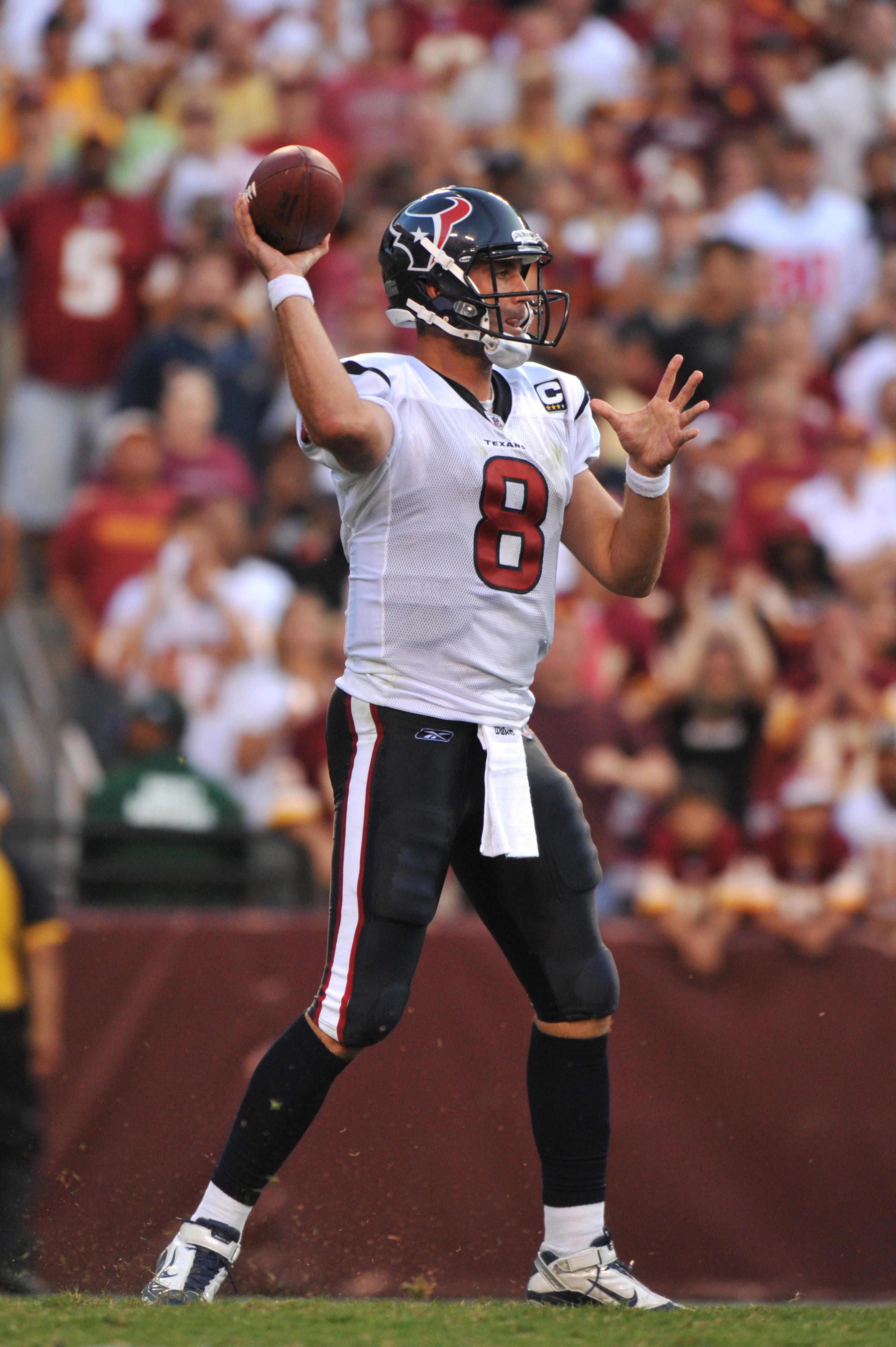 LANDOVER - SEPTEMBER 19:  Matt Schaub #8 of the Houston Texans passes against the Washington Redskins at FedExField on September 19, 2010 in Landover, Maryland. The Texans defeated the Redskins 30-27 in overtime. (Photo by Larry French/Getty Images)