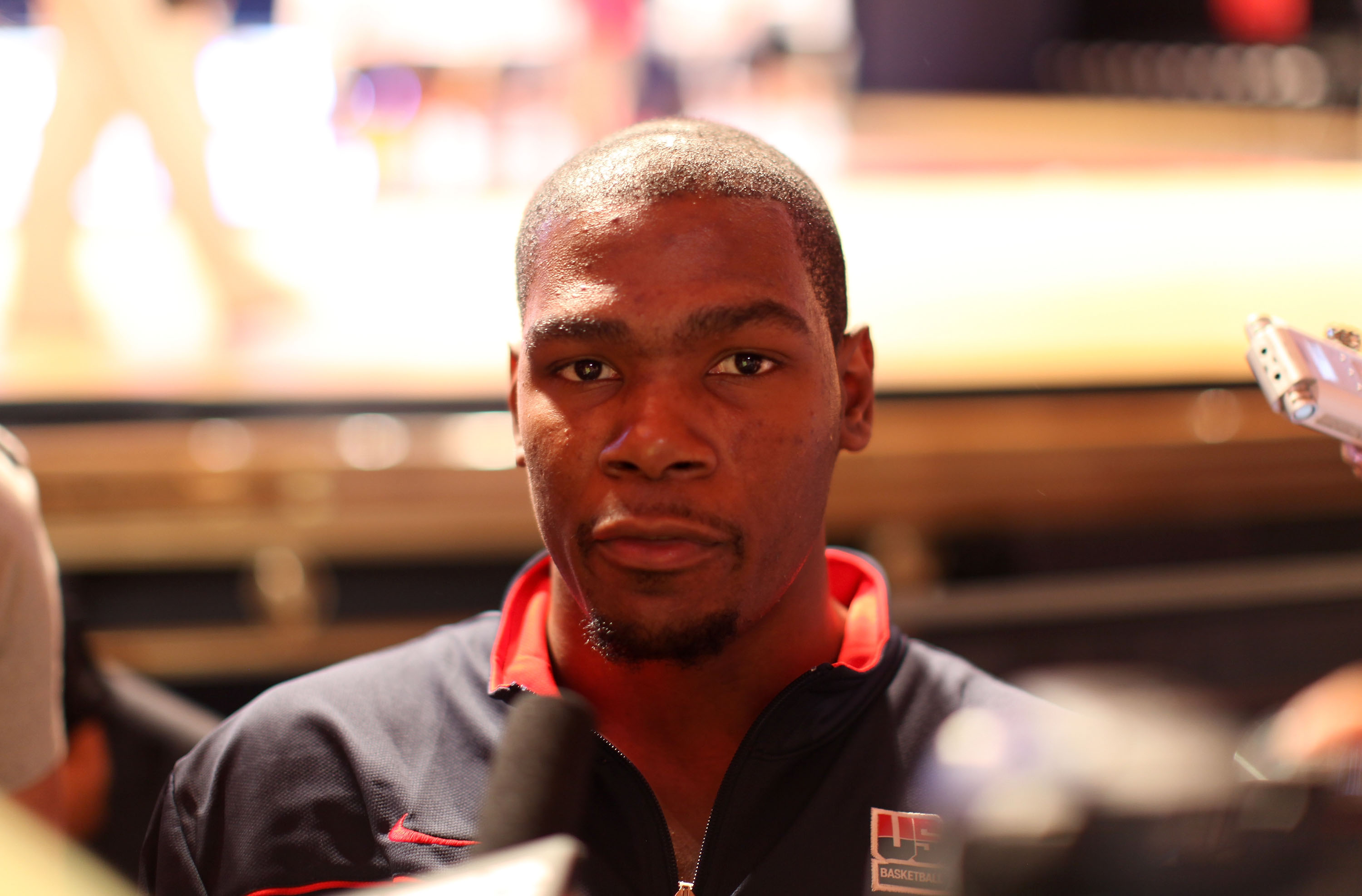 NEW YORK CITY, NY - AUGUST 12:  Kevin Durant of USAB is interviewed during the World Basketball Festival Community Morning at Radio City Music Hall on August 12, 2010 in New York, New York.  (Photo by Marc Lecureuil/Getty Images for Nike)