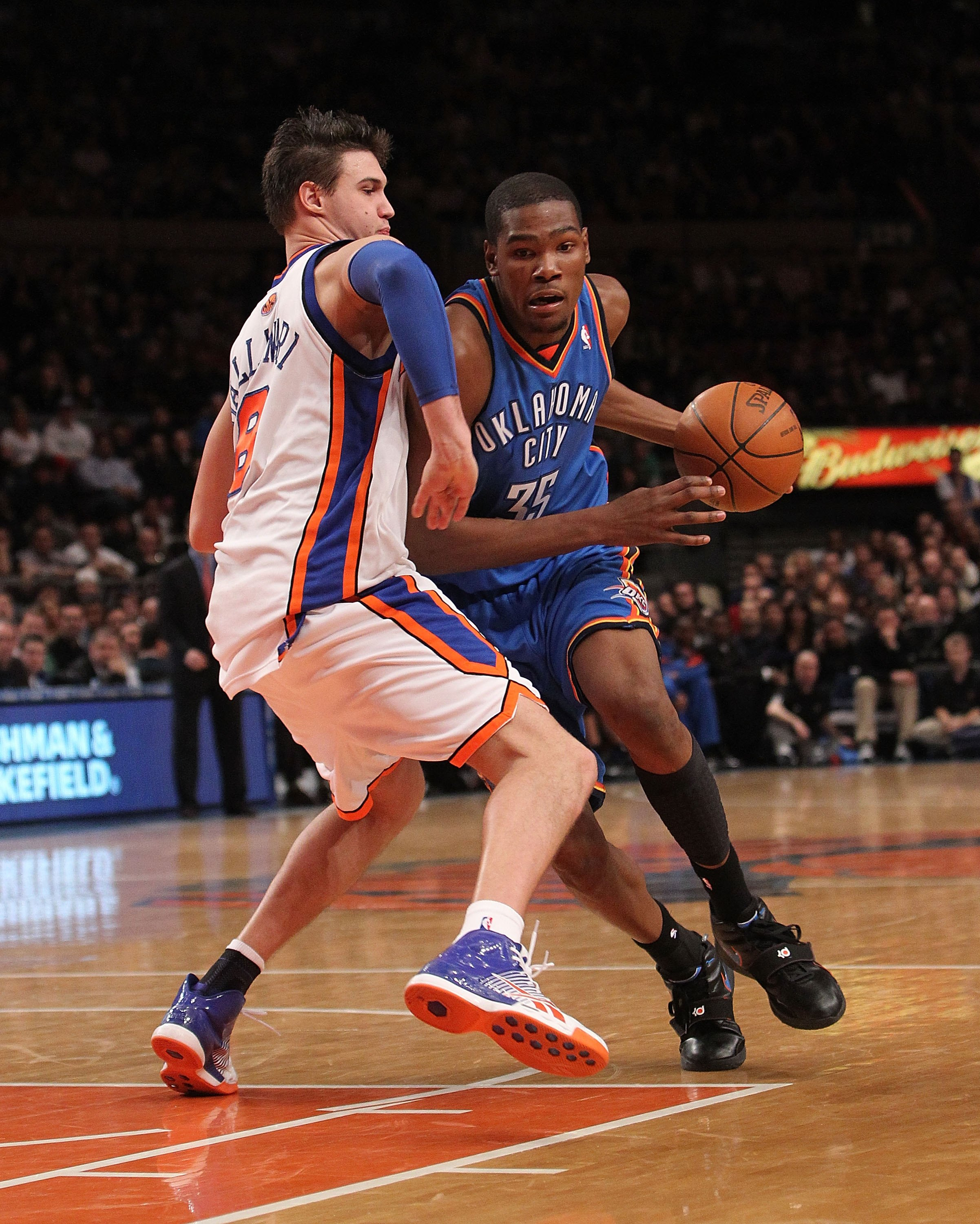 NEW YORK - FEBRUARY 20:  Kevin Durant #35 of the Oklahoma City Thunder against Danilo Galinari #8 of the New York Knicks at Madison Square Garden on February 20, 2010 in New York, New York. NOTE TO USER: User expressly acknowledges and agrees that, by dow