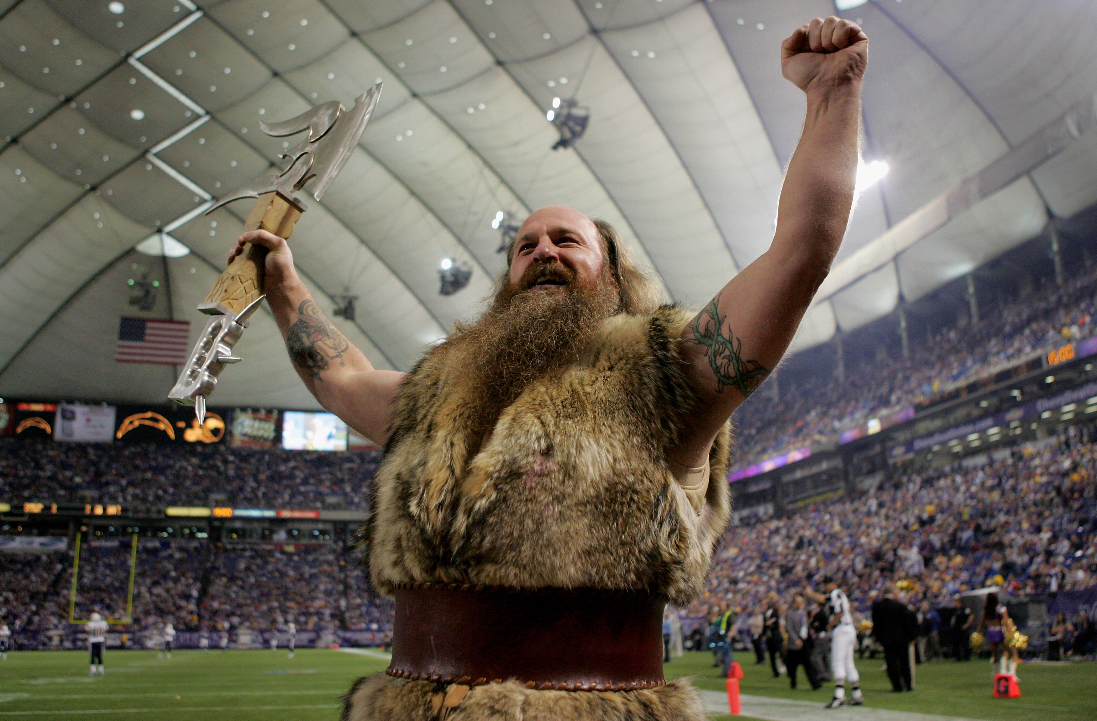 MINNEAPOLIS, MN - NOVEMBER 04: 'Ragnar' the Minnesota Vikings mascot portrayed by Joe Juranitch, entices the home crowd against the San Diego Chargers at the Hubert H. Humphrey Metrodome on November 4, 2007 in Minneapolis, Minnesota. (Photo by Doug Pensin