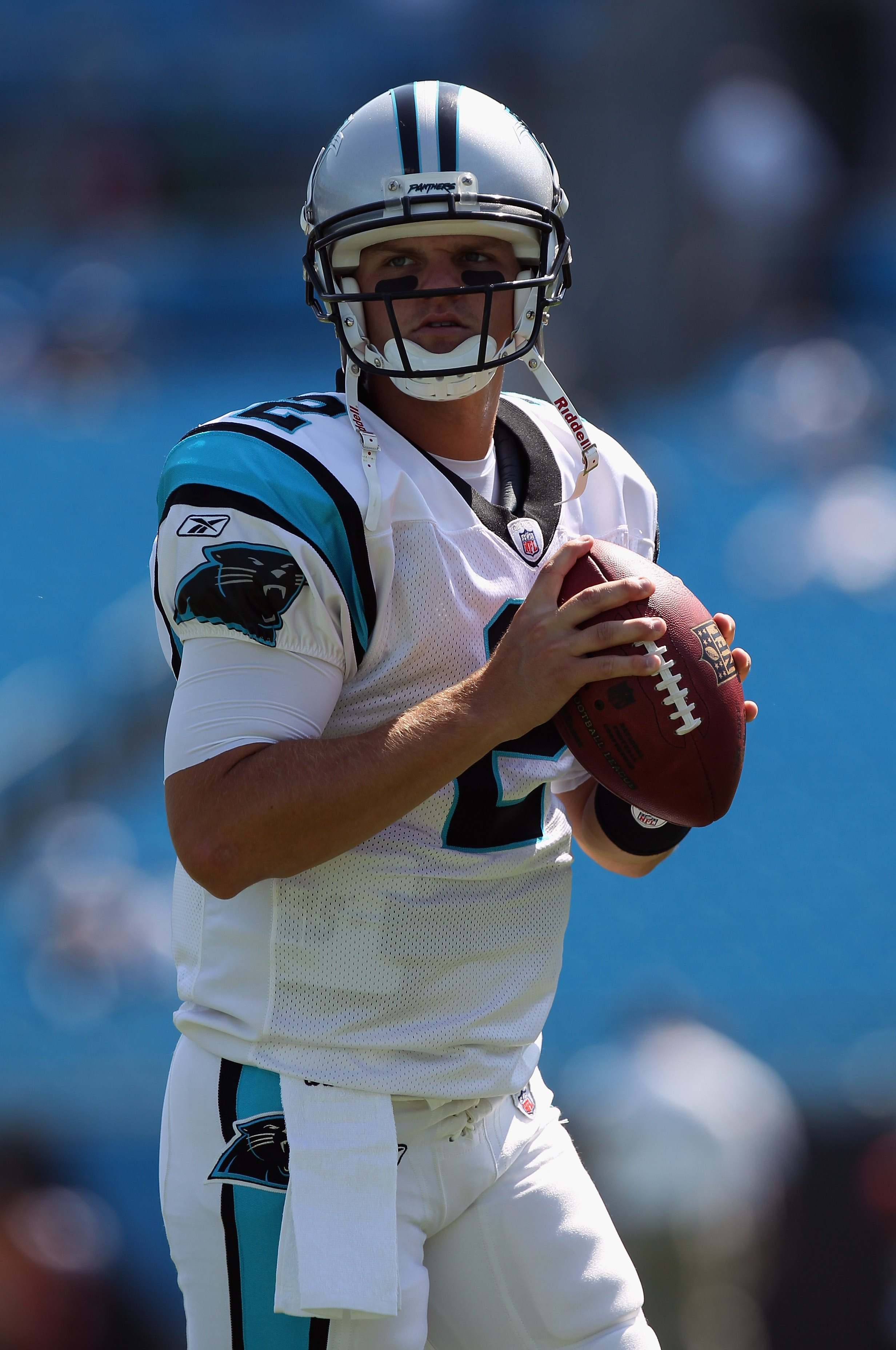 CHARLOTTE, NC - SEPTEMBER 19:  Jimmy Clausen #2 of the Carolina Panthers against the Tampa Bay Buccaneers during their game at Bank of America Stadium on September 19, 2010 in Charlotte, North Carolina.  (Photo by Streeter Lecka/Getty Images)