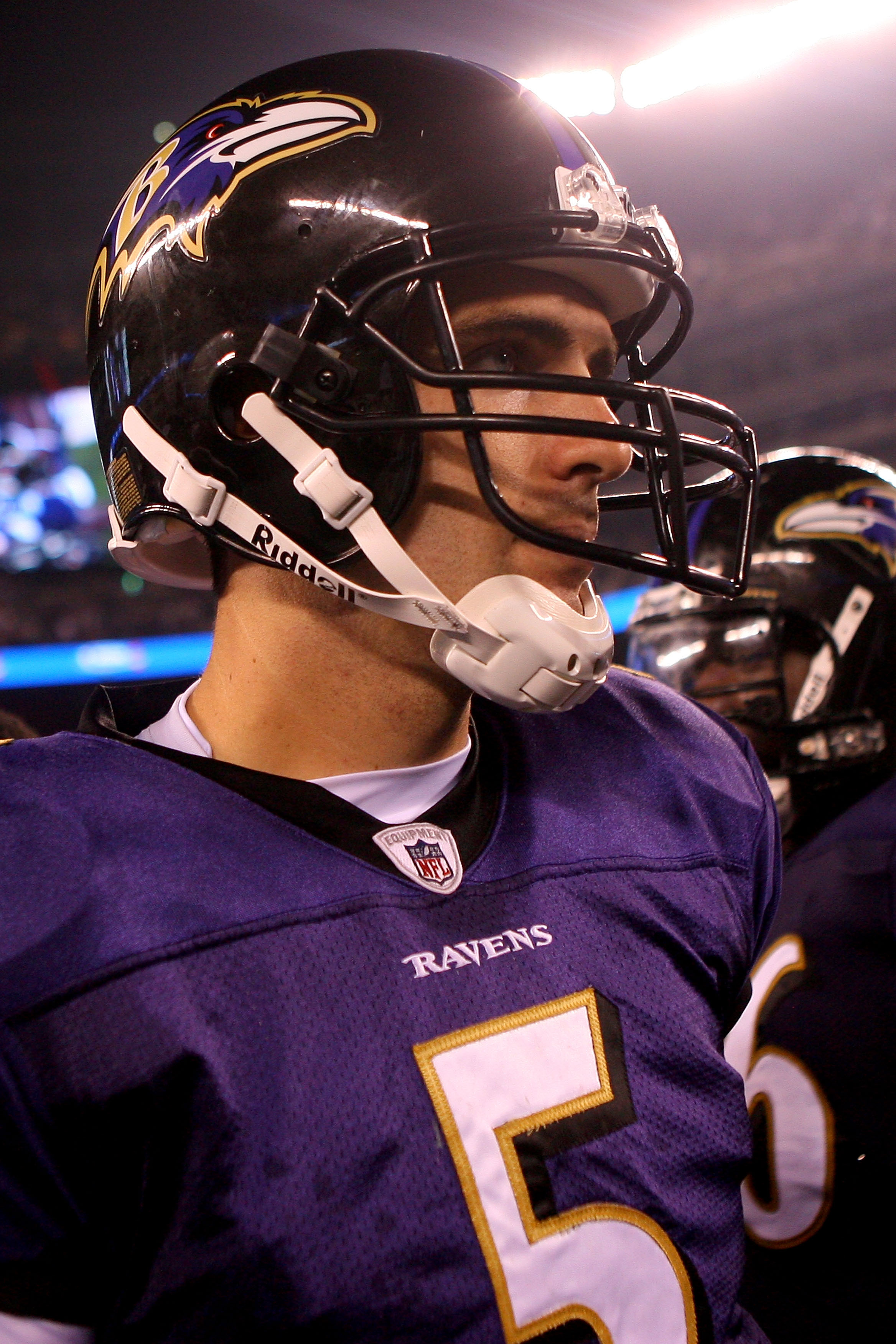 EAST RUTHERFORD, NJ - SEPTEMBER 13:  Joe Flacco #5 of the Baltimore Ravens walks off the field after defeating the New York Jets during their home opener at the New Meadowlands Stadium on September 13, 2010 in East Rutherford, New Jersey.  (Photo by Andre