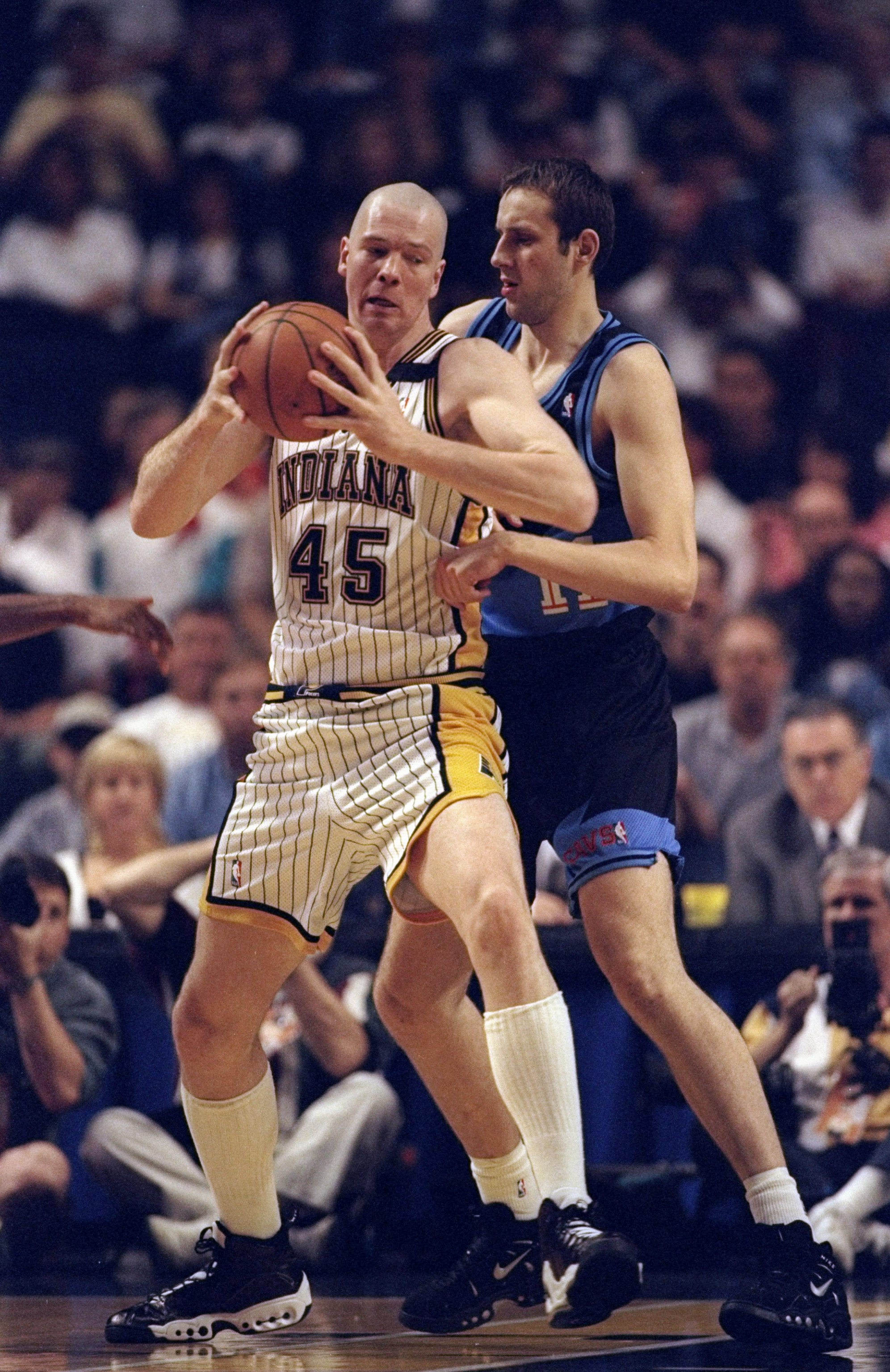 25 Apr 1998: Rik Smits #4 of the Cleveland Cavaliers in action against during a game against the Indiana Pacers at the Market Square Arena in Indianapolis, Indiana. The Pacers defeated the Cavaliers 92-86.