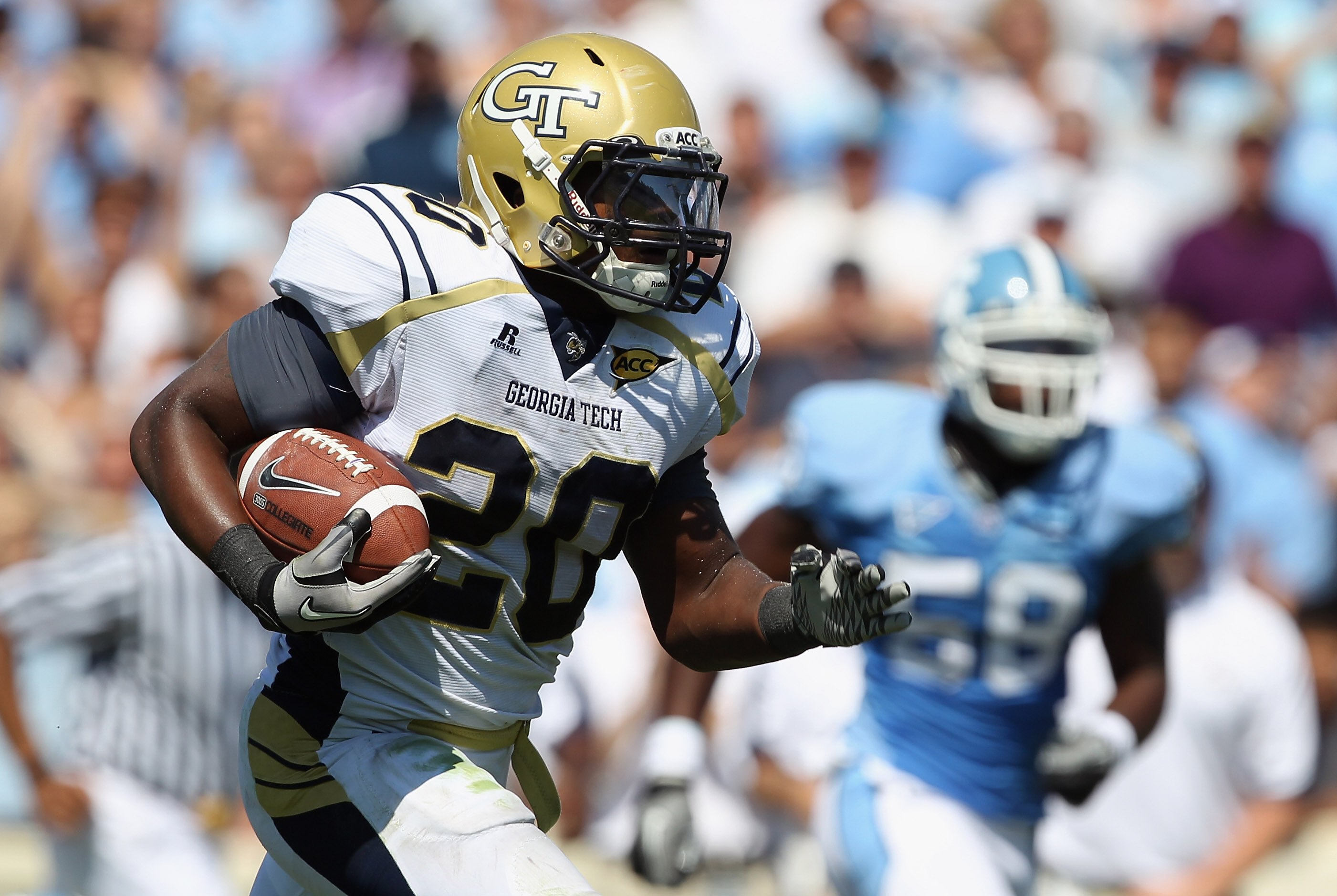 CHAPEL HILL, NC - SEPTEMBER 18:  Roddy Jones #20 of the Georgia Tech Yellow Jackets against the North Carolina Tar Heels during their game at Kenan Stadium on September 18, 2010 in Chapel Hill, North Carolina.  (Photo by Streeter Lecka/Getty Images)