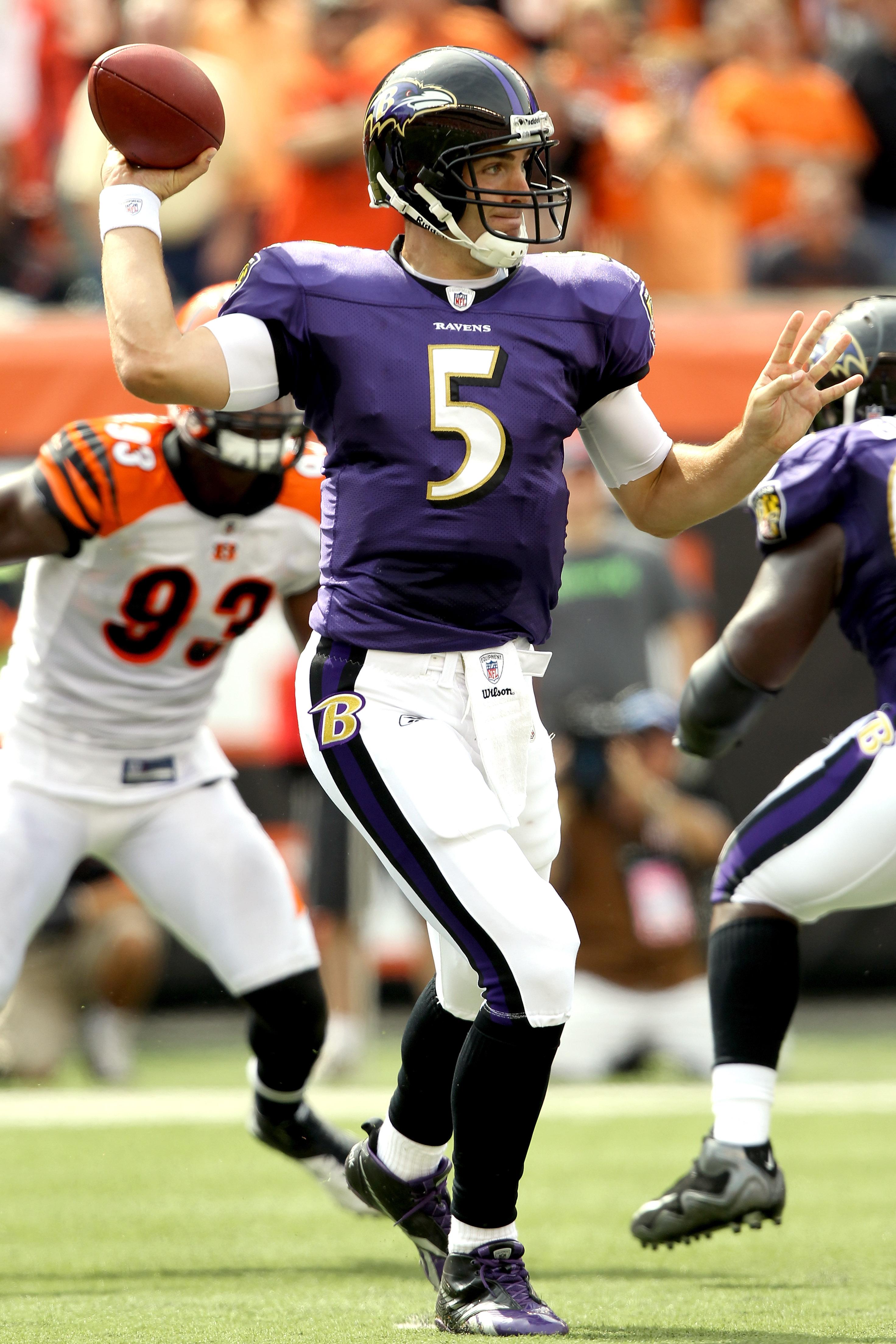 CINCINNATI - SEPTEMBER 19:  Quarterback Joe Flacco #5 of Baltimore Ravens throws against the Cincinnati Bengals at Paul Brown Stadium on September 19, 2010 in Cincinnati, Ohio.  (Photo by Matthew Stockman/Getty Images)