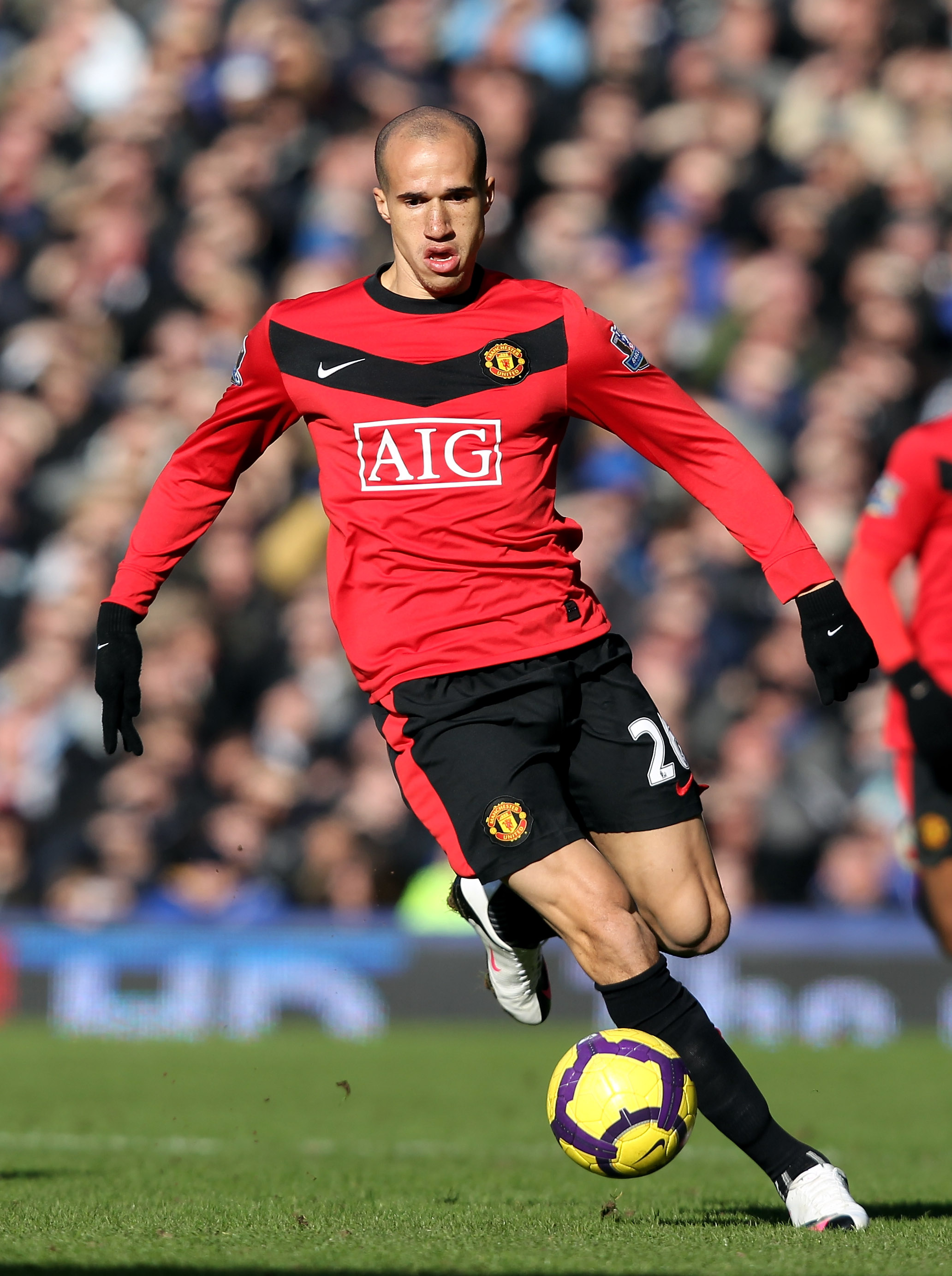LIVERPOOL, ENGLAND - FEBRUARY 20:  Gabriel Obertan of Manchester during the Barclays Premiership match between Everton and Manchester United at Goodison Park on February 20, 2010 in Liverpool, England.  (Photo by Ross Kinnaird/Getty Images)